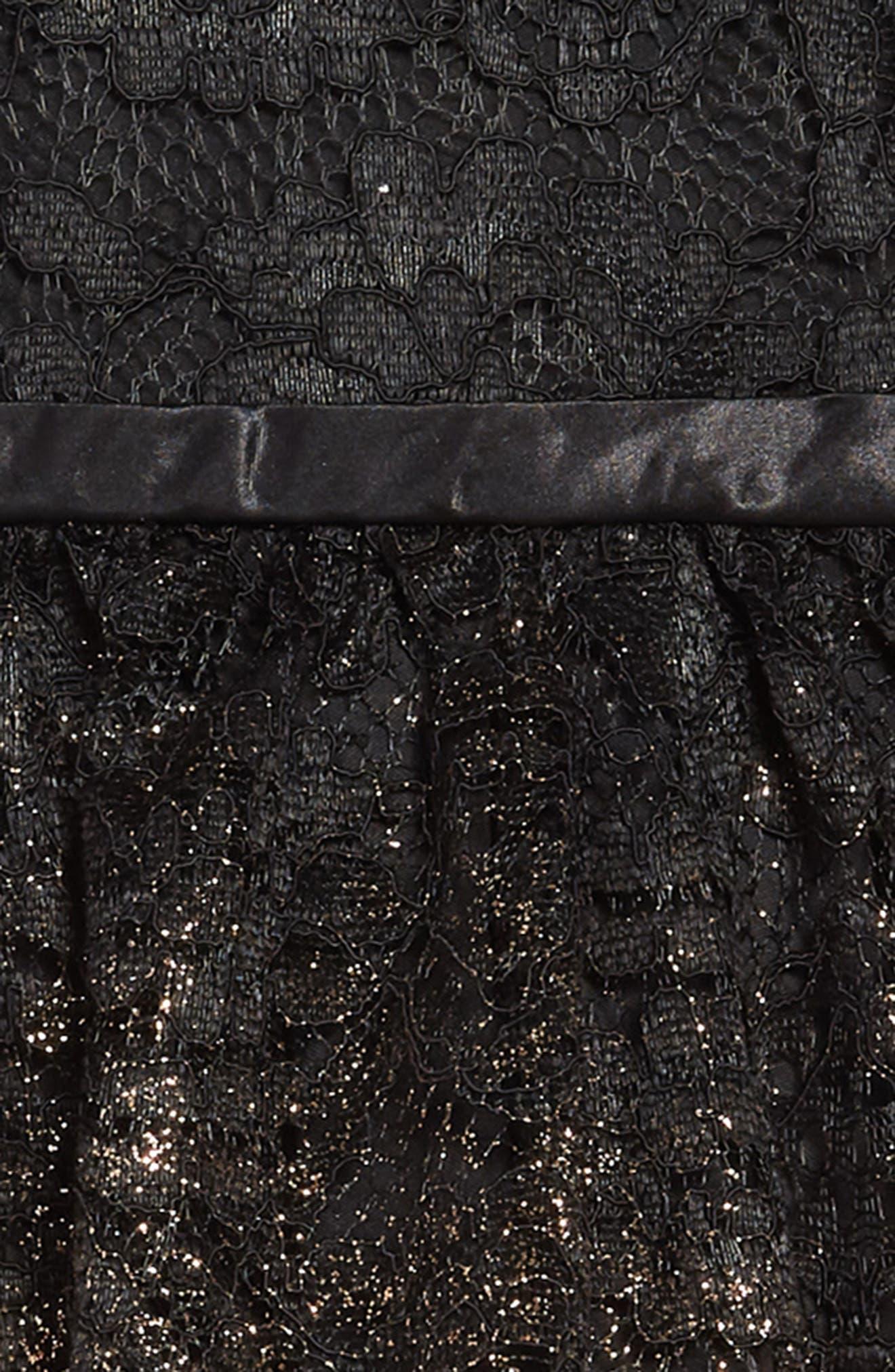 Lace Gold Ombré Dress,                             Alternate thumbnail 3, color,                             BLACK GOLD