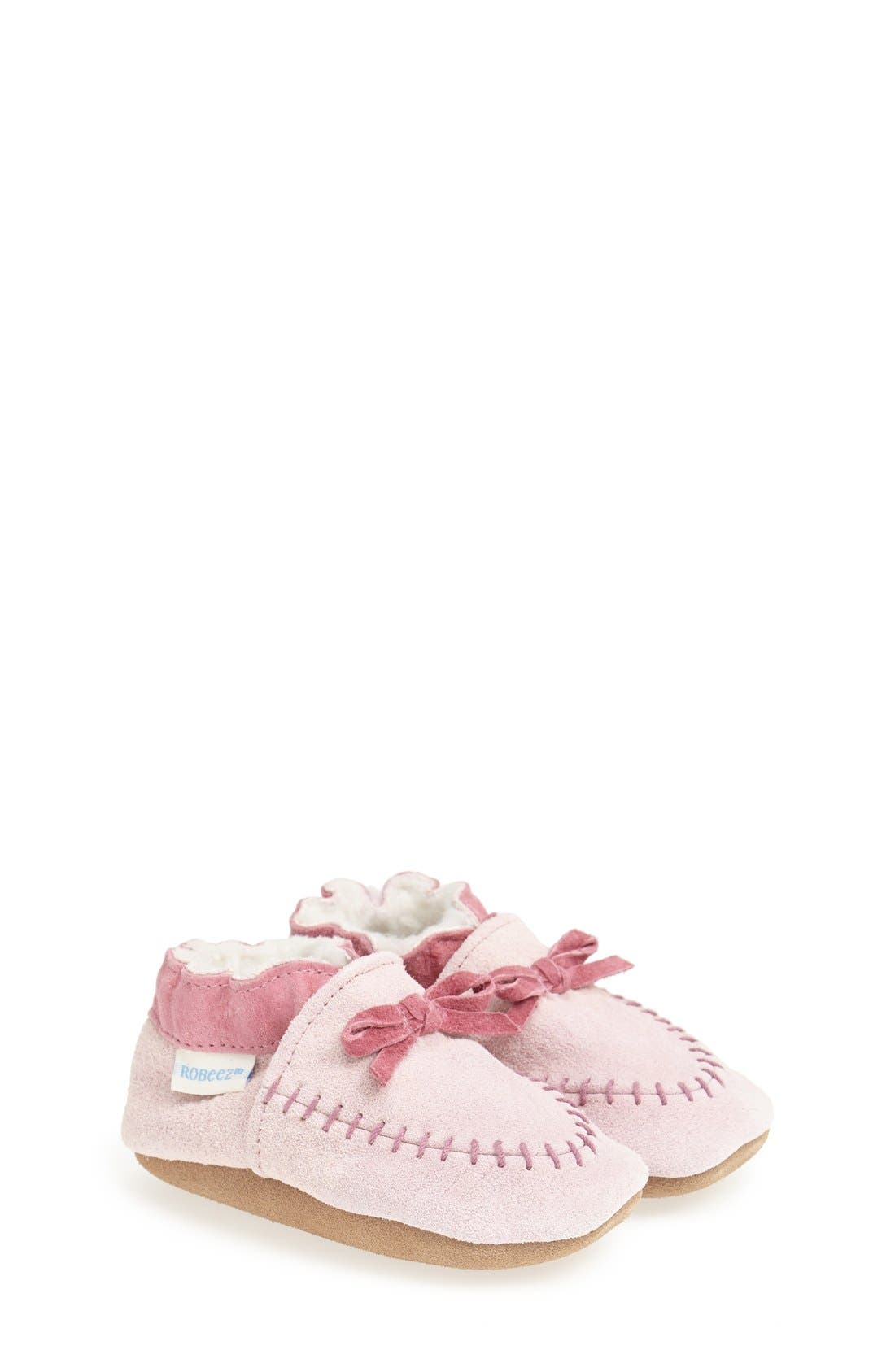 Cozy Moccasin Crib Shoe,                             Main thumbnail 1, color,                             PINK
