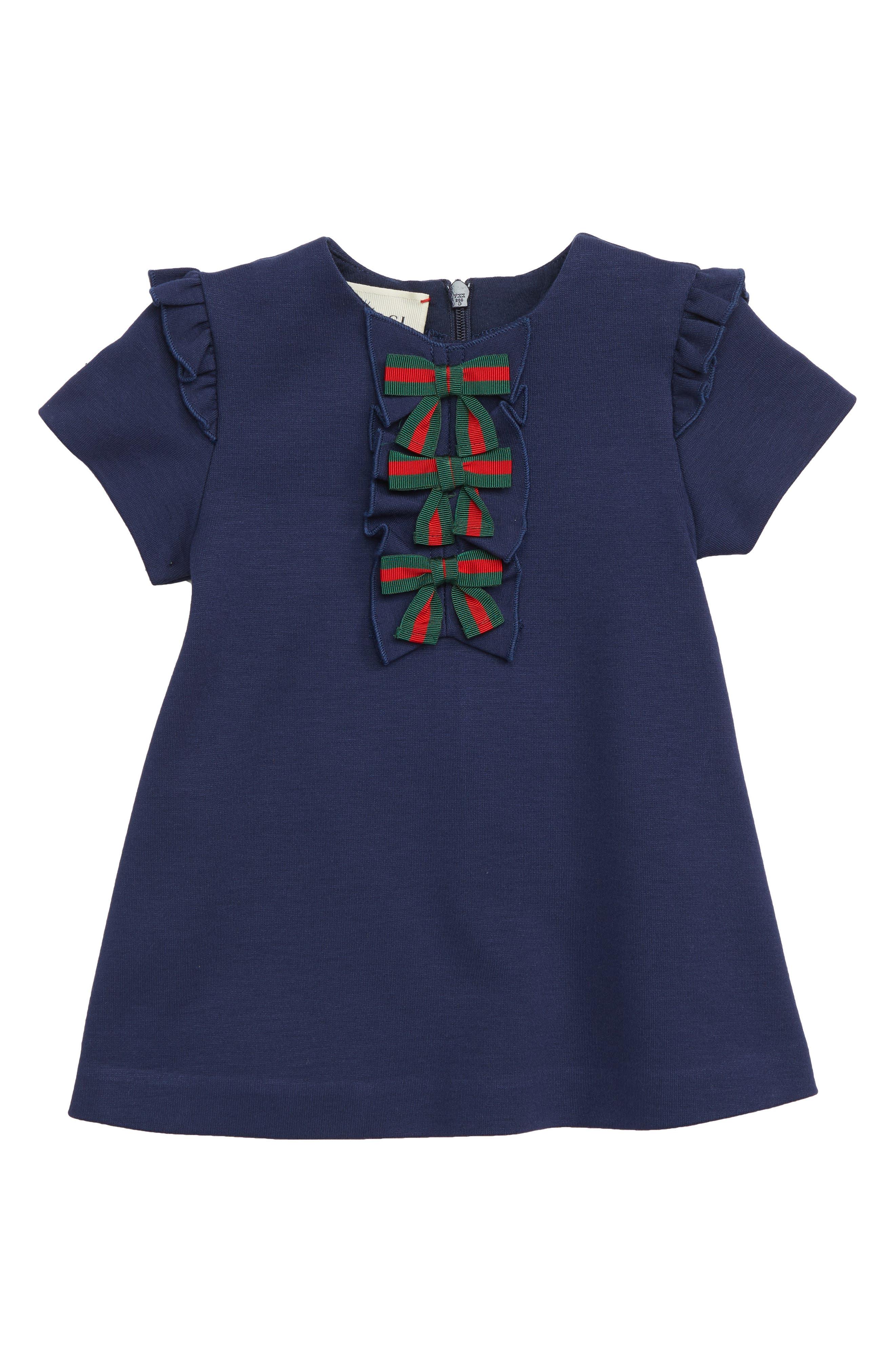Ruffle & Bow Dress,                         Main,                         color, COBALTO/ GREEN/ RED