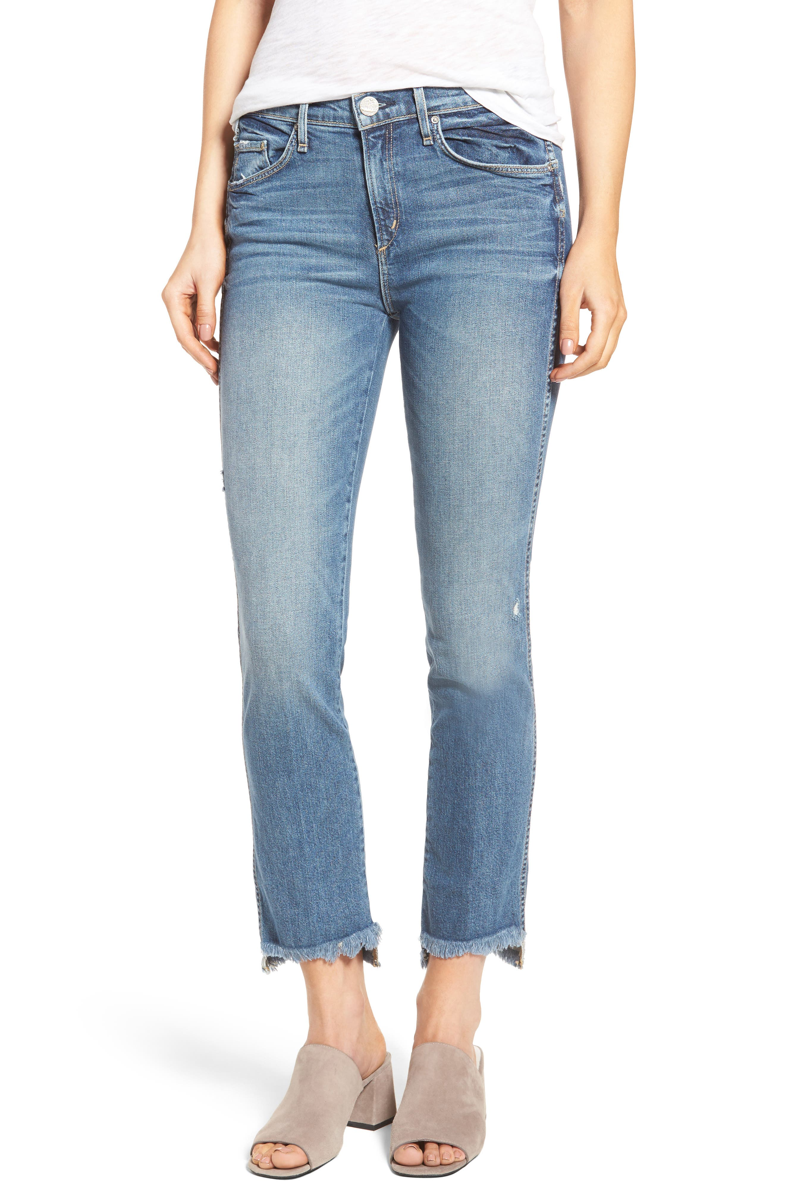 Lido Frayed Crop Straight Leg Jeans,                             Main thumbnail 1, color,                             461
