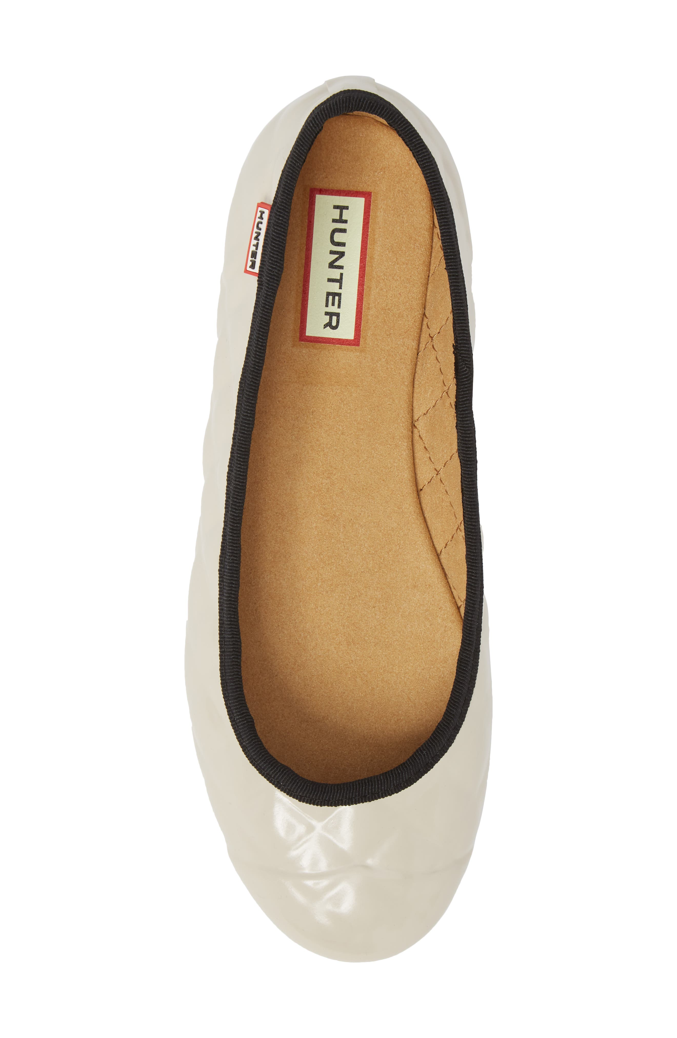 Quilted Ballet Flat,                             Alternate thumbnail 5, color,                             PARCHMENT GREY/ BLACK