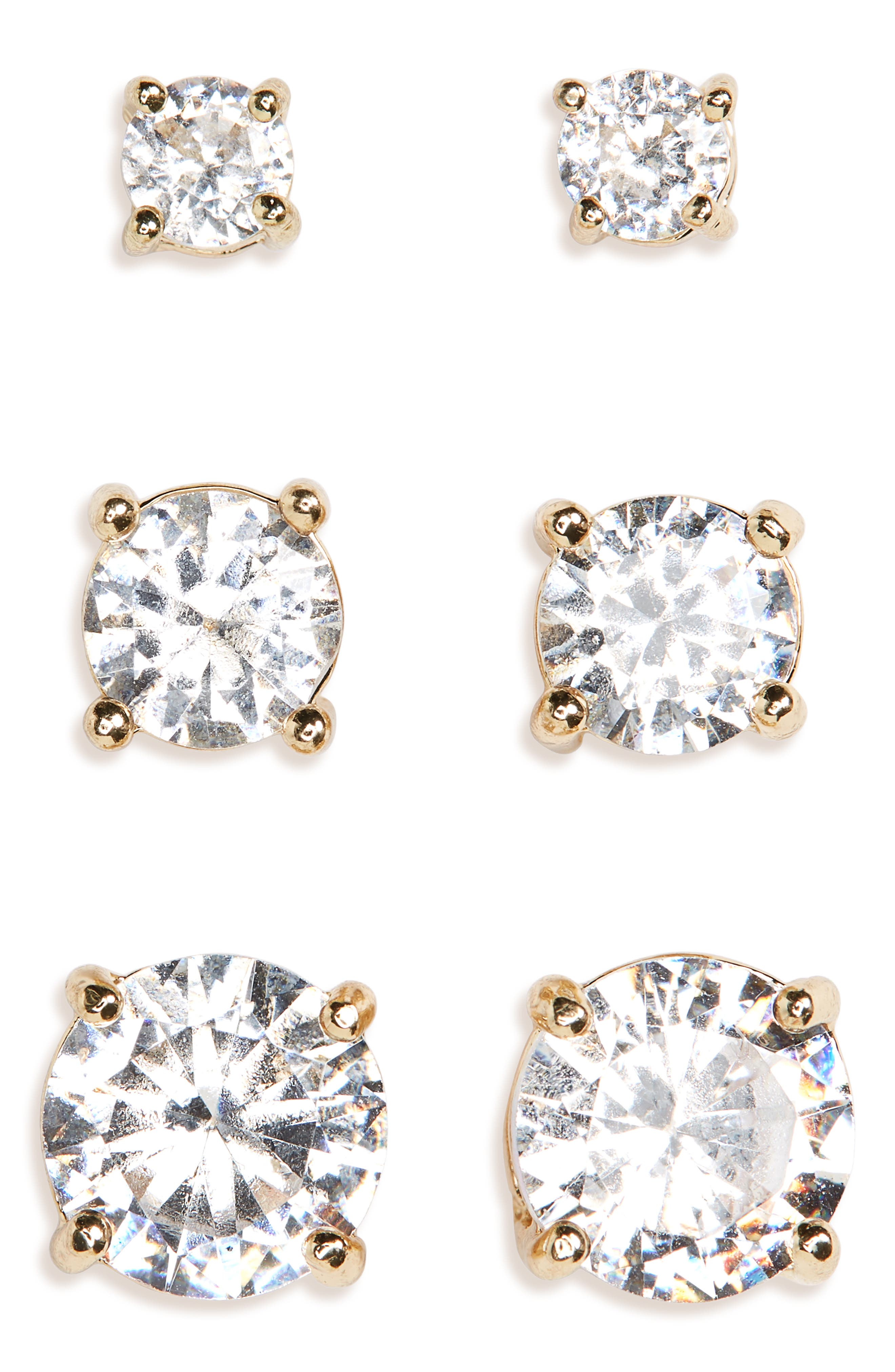 3-Pack Crystal Stud Earrings,                             Main thumbnail 1, color,                             GOLD/ CRYSTAL