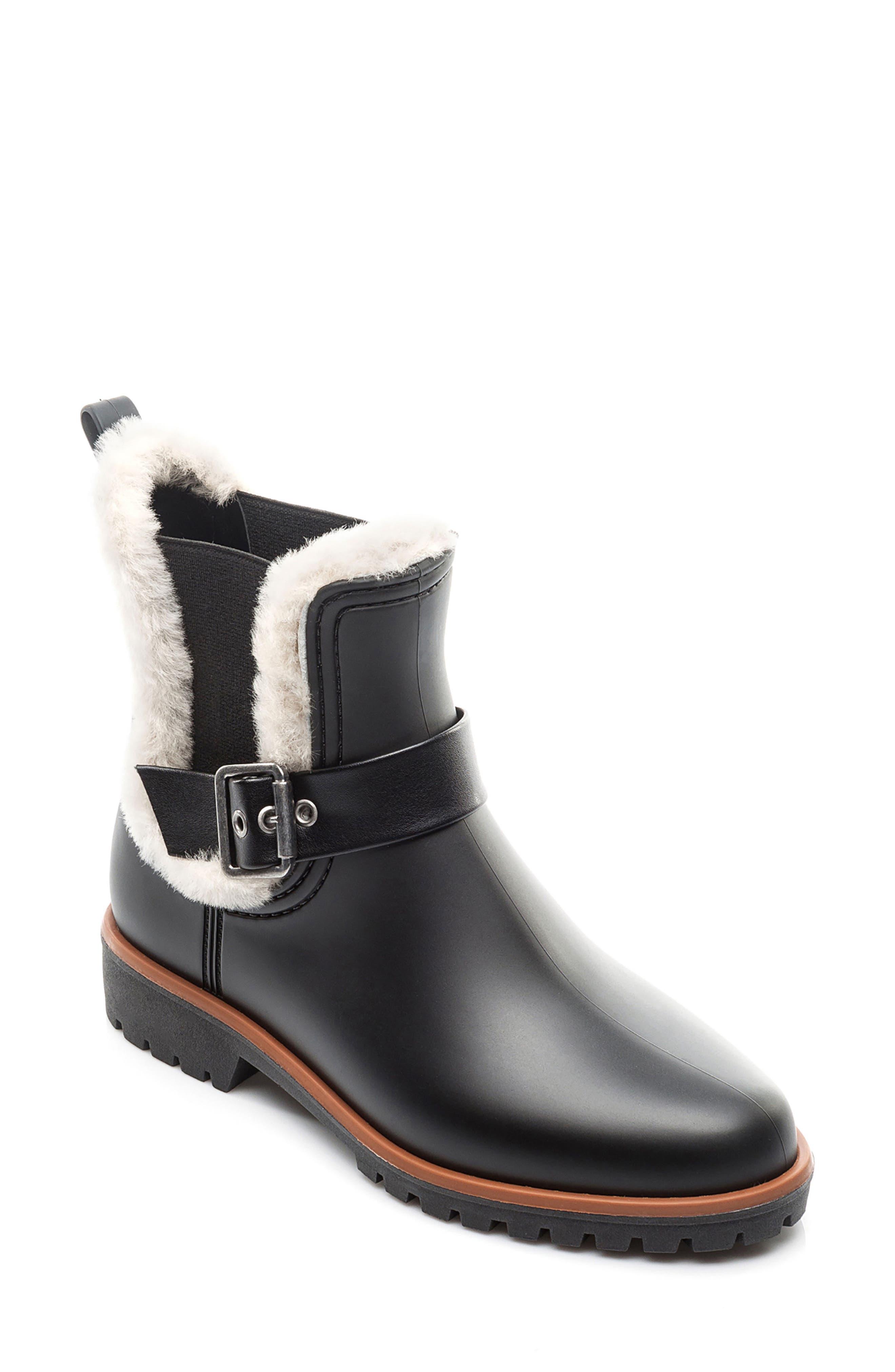 Bernardo Zain Genuine Shearling Trim Rain Boot,                             Main thumbnail 1, color,                             001