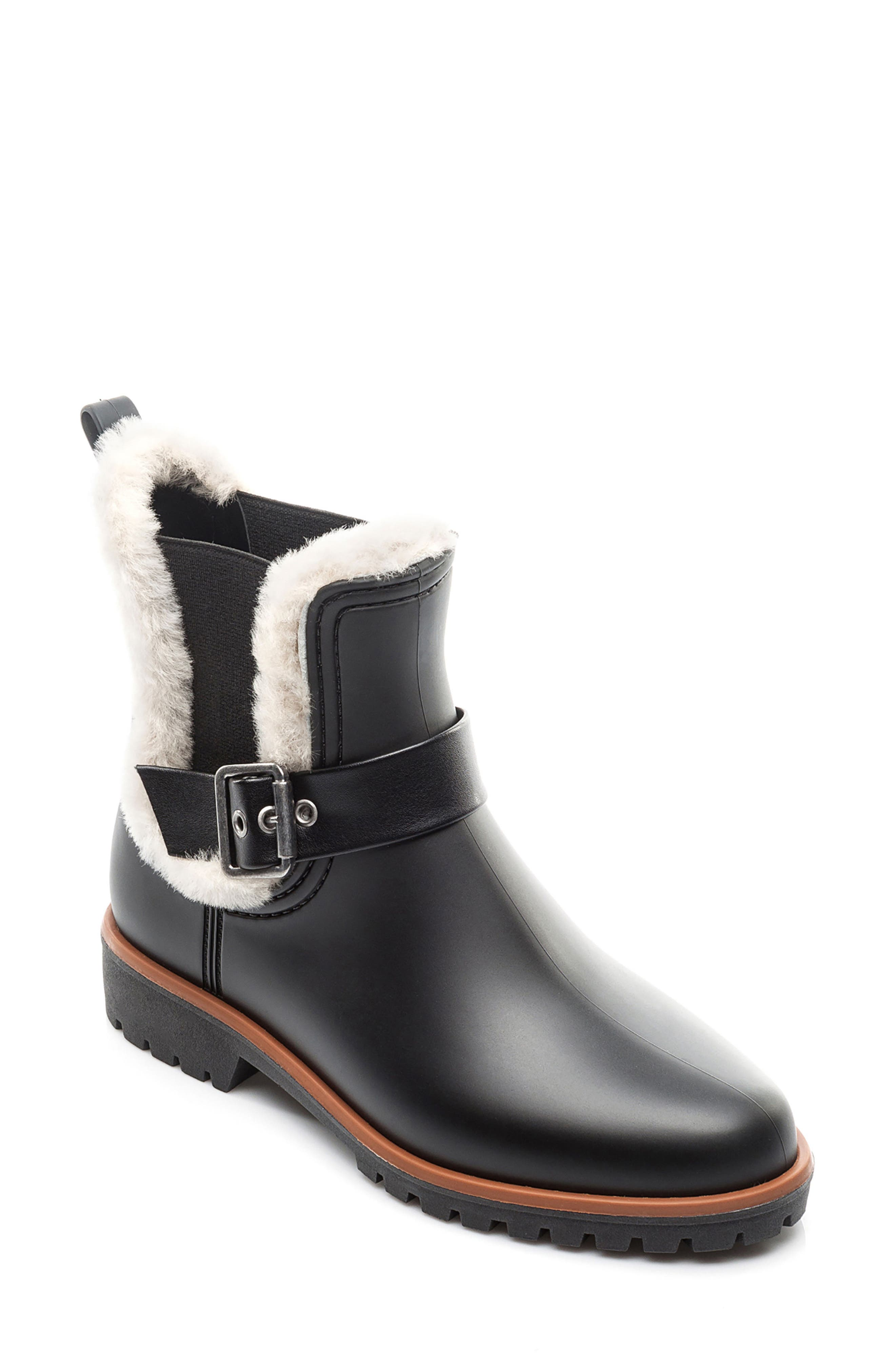 Bernardo Zain Genuine Shearling Trim Rain Boot,                         Main,                         color, 001