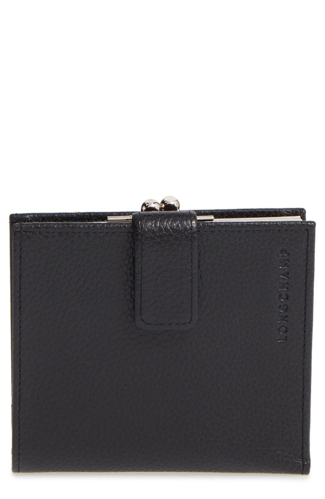 'Le Foulonne' Pebbled Leather Wallet,                             Main thumbnail 1, color,                             BLACK