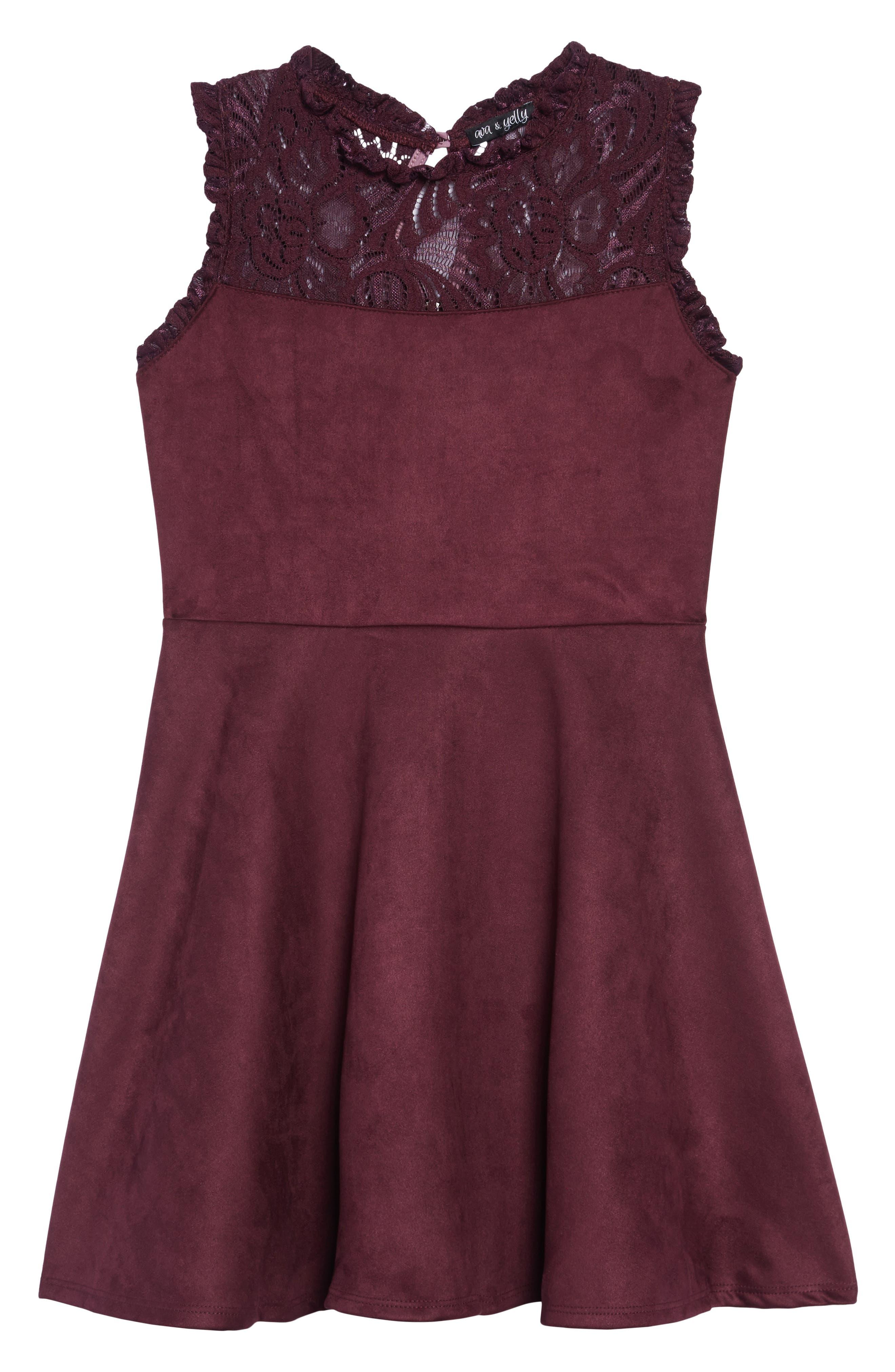 Girls Ava  Yelly Lace Yoke Dress Size 12  Pink