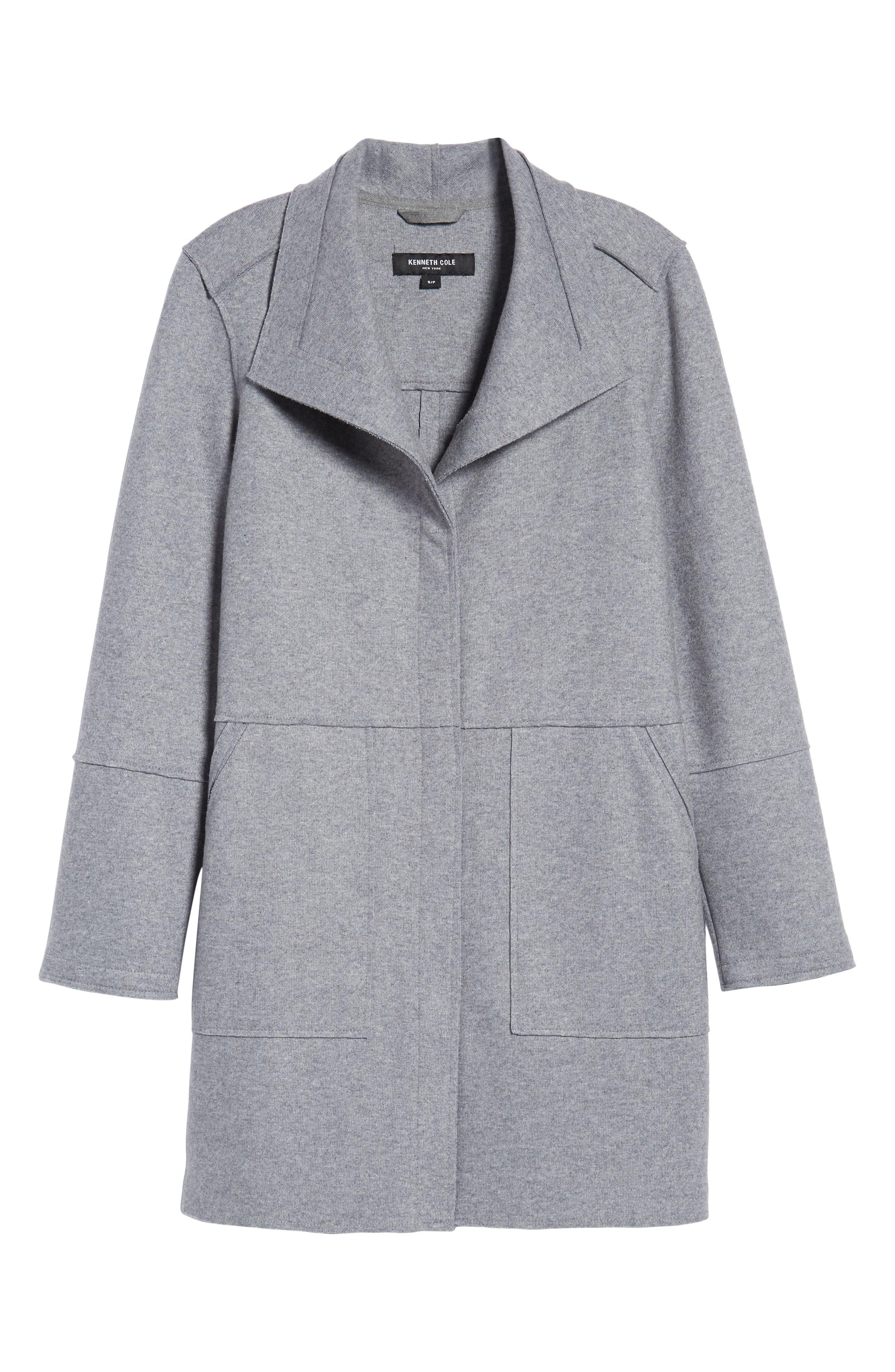 Envelope Collar Wool Blend Knit Coat,                             Alternate thumbnail 6, color,                             LIGHT GREY