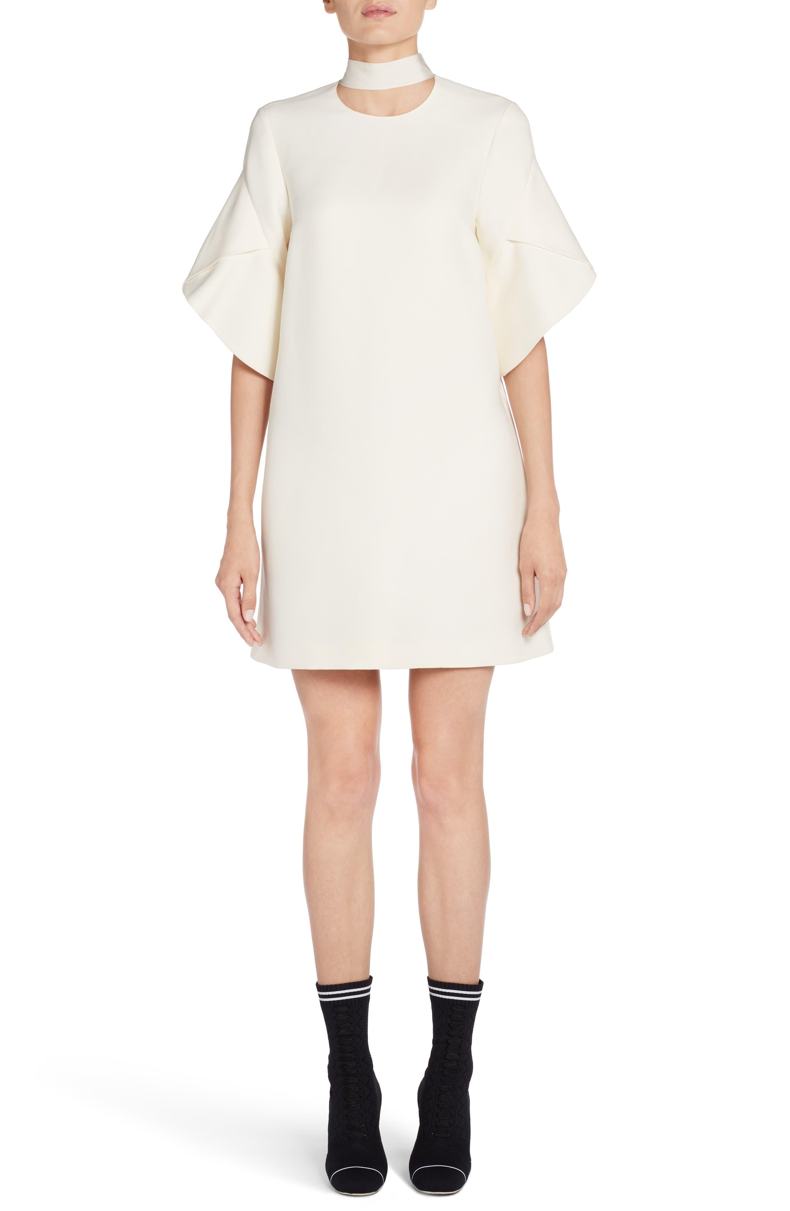 Wool & Silk Gazar Shift Dress,                             Main thumbnail 1, color,