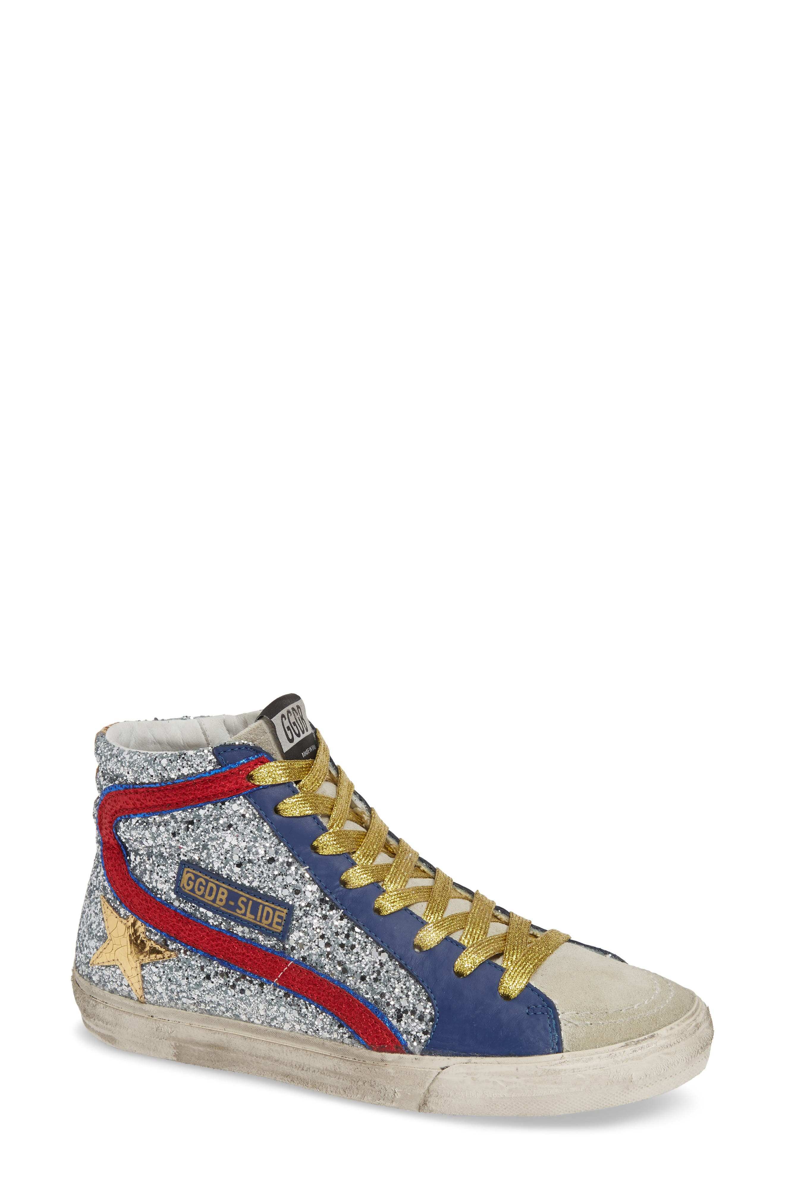 Slide Glitter High Top Sneaker,                             Main thumbnail 1, color,                             SILVER/ RED/ GOLD