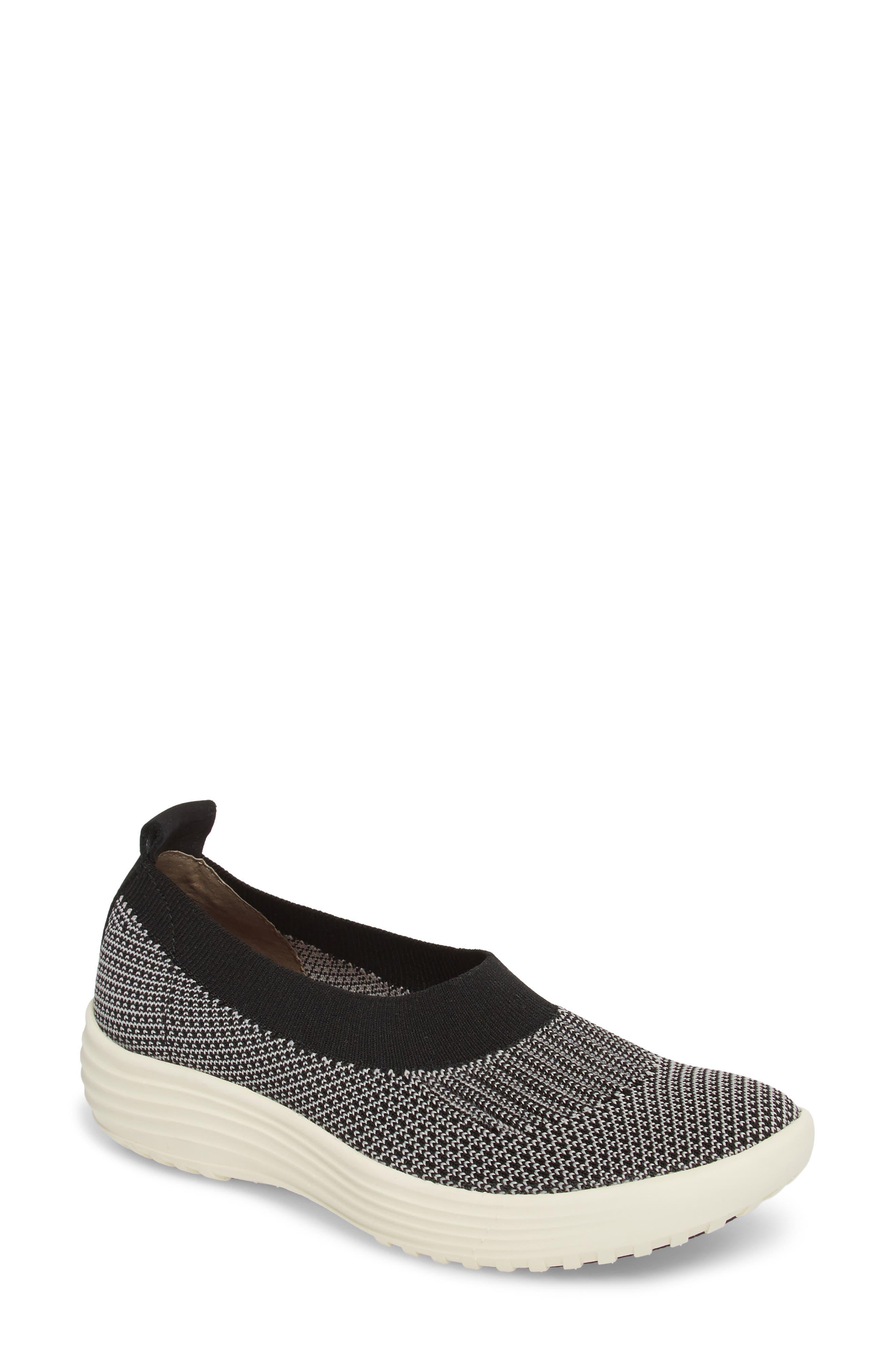 Merigold Slip-On Sock Fit Sneaker,                             Main thumbnail 1, color,                             BLACK/ MIST GREY FABRIC