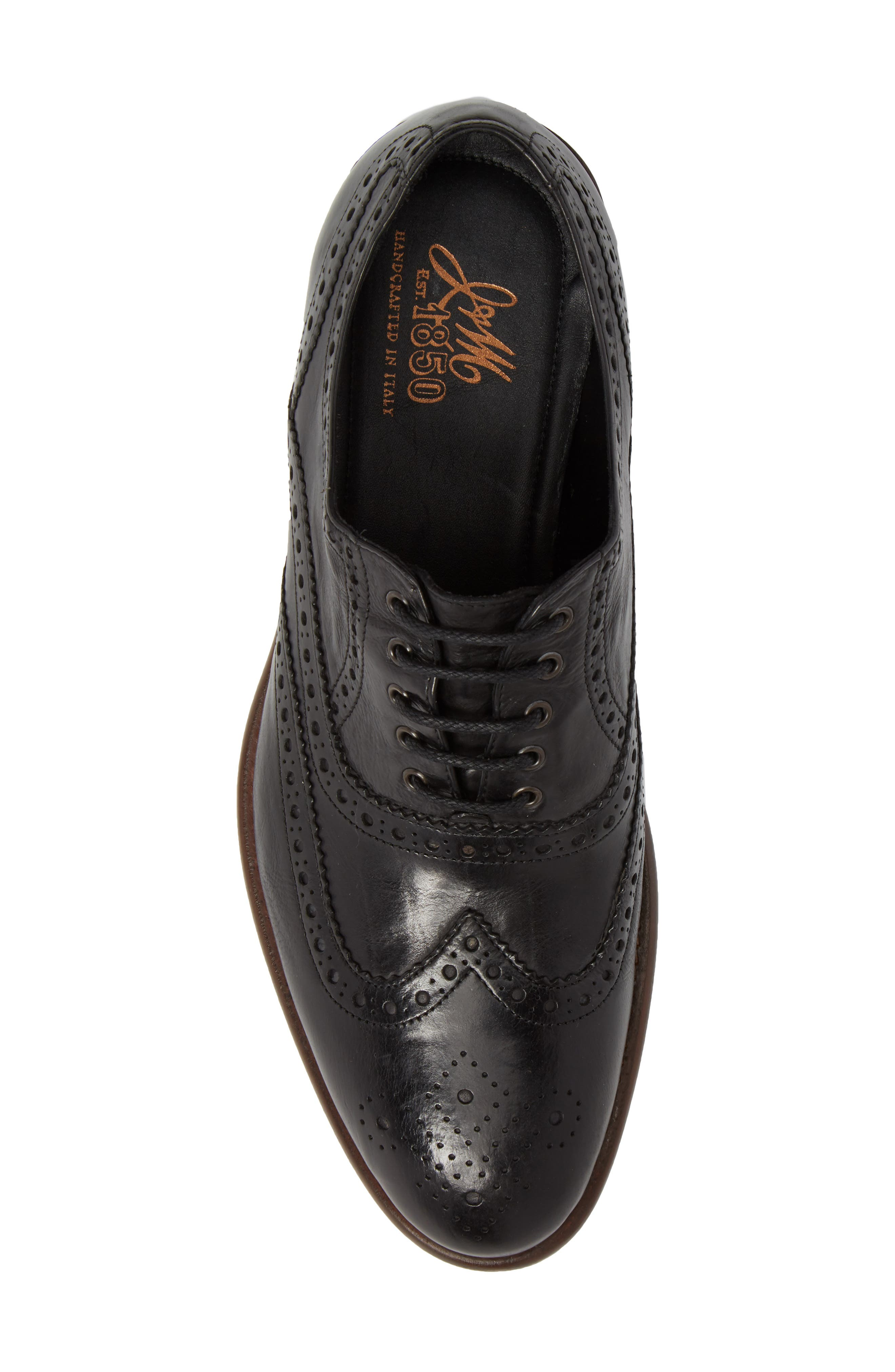 Bryson Wingtip Oxford,                             Alternate thumbnail 5, color,                             BLACK LEATHER