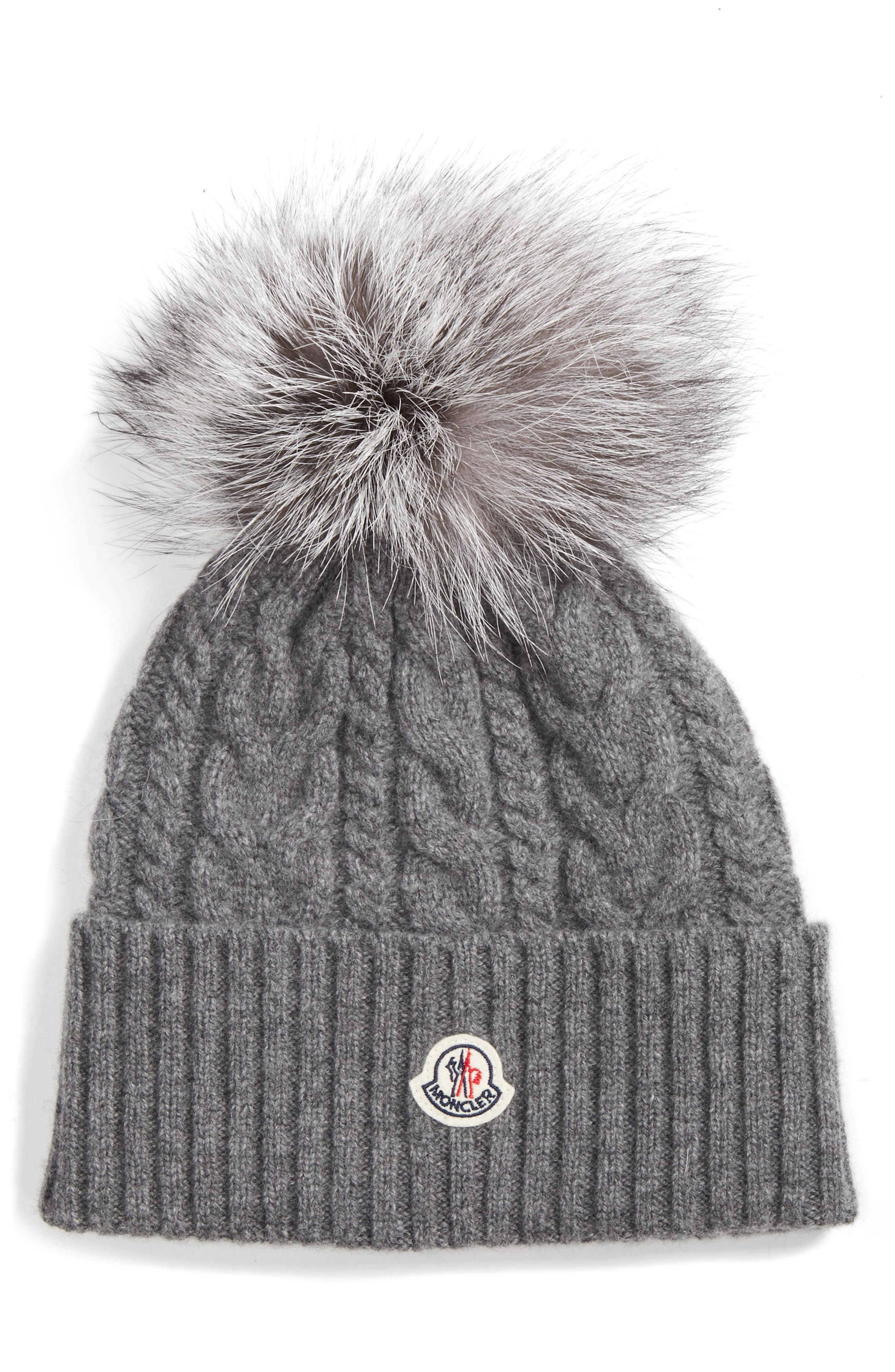 Cable Knit Beanie with Genuine Fox Fur Pom,                             Main thumbnail 1, color,                             GREY