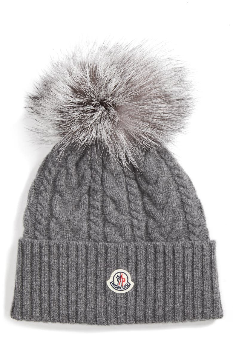 Moncler Cable Knit Beanie with Genuine Fox Fur Pom  11dd47f650b