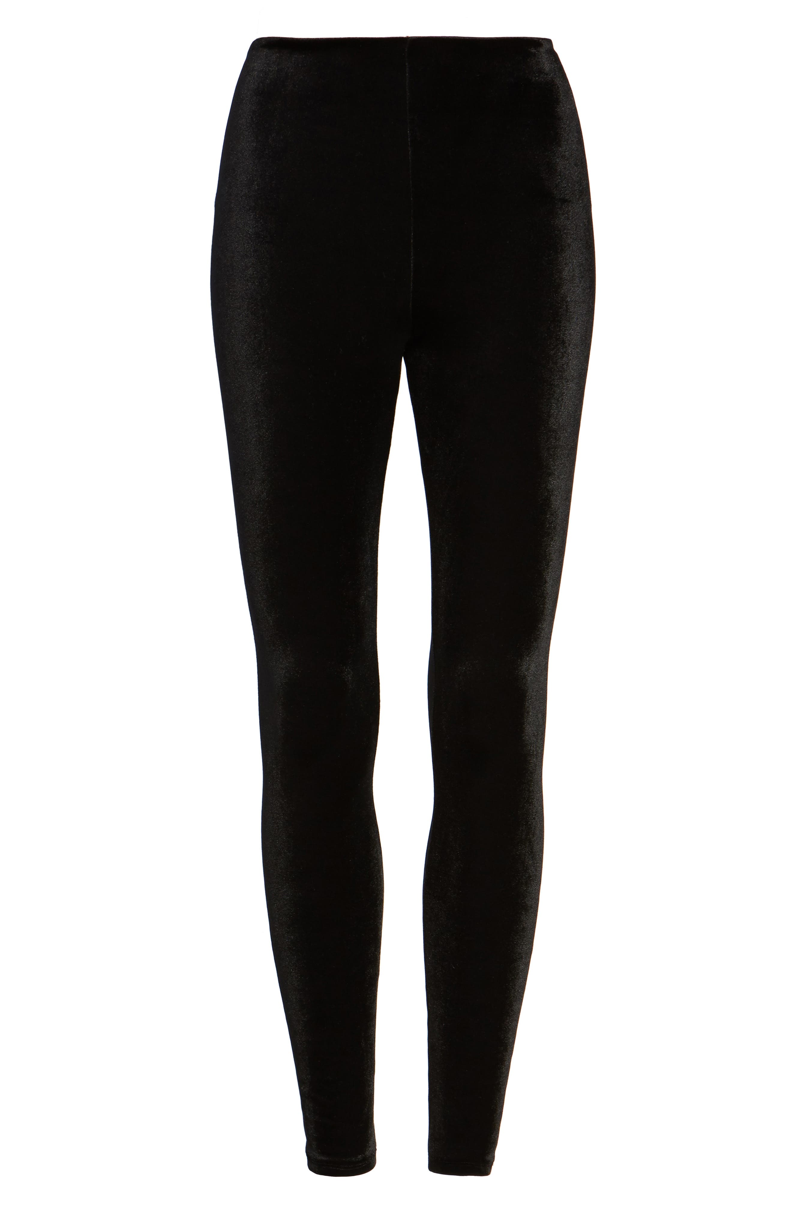 Perfect Control Top Velvet Leggings,                             Alternate thumbnail 6, color,                             BLACK