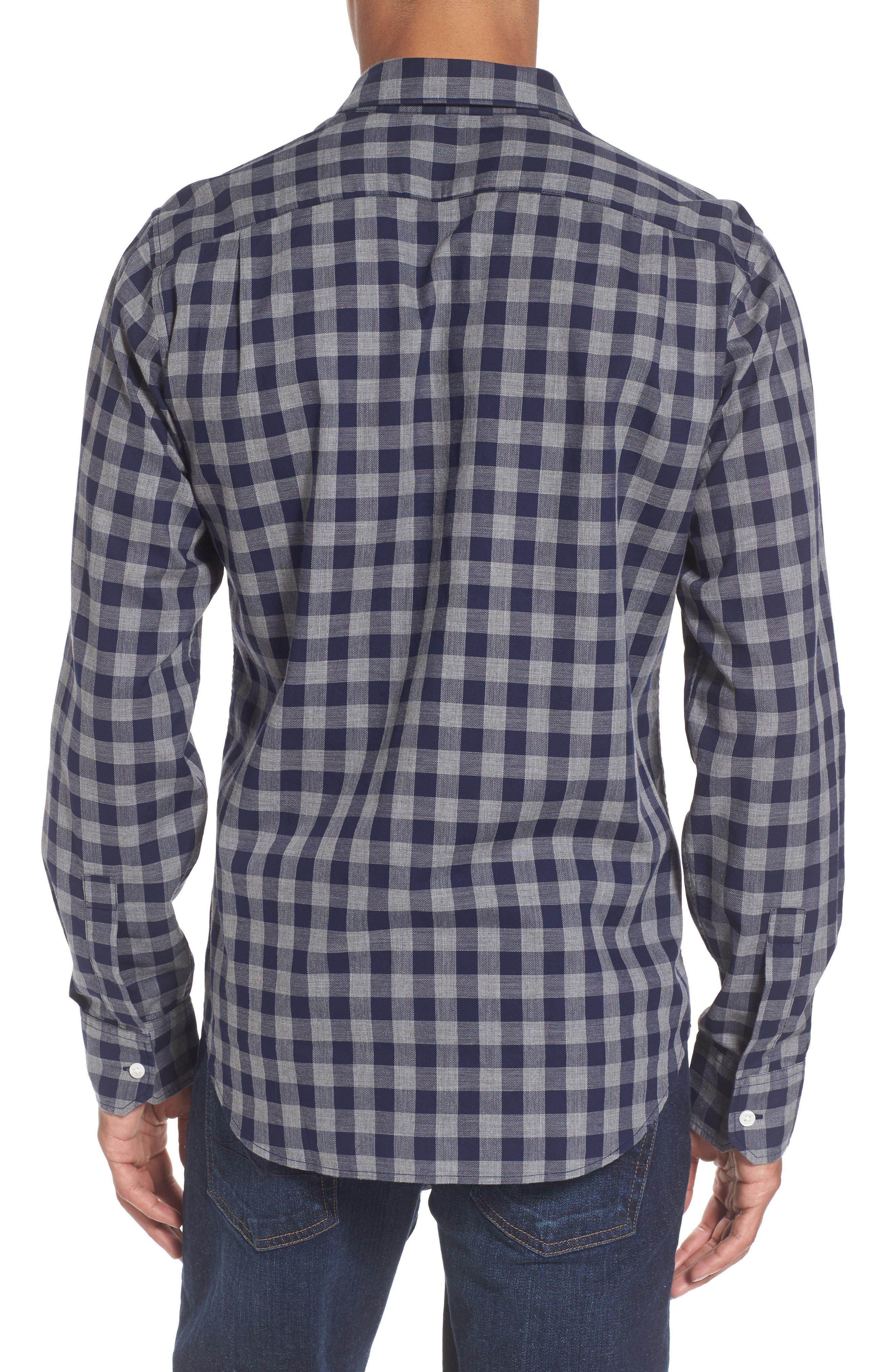 Unbutton Down Slim Fit Check Sport Shirt,                             Alternate thumbnail 2, color,                             400