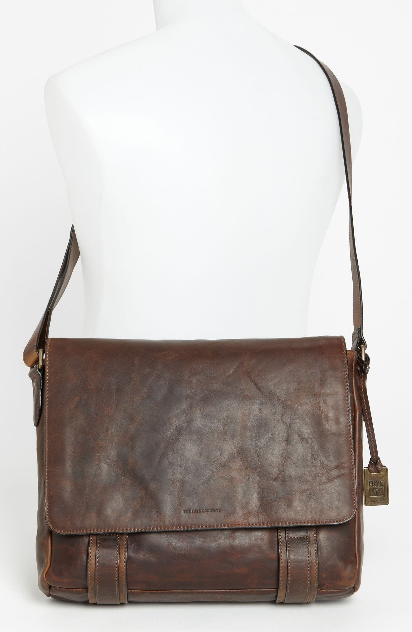 'Logan' Messenger Bag,                             Alternate thumbnail 2, color,                             ANTIQUE DARK BROWN