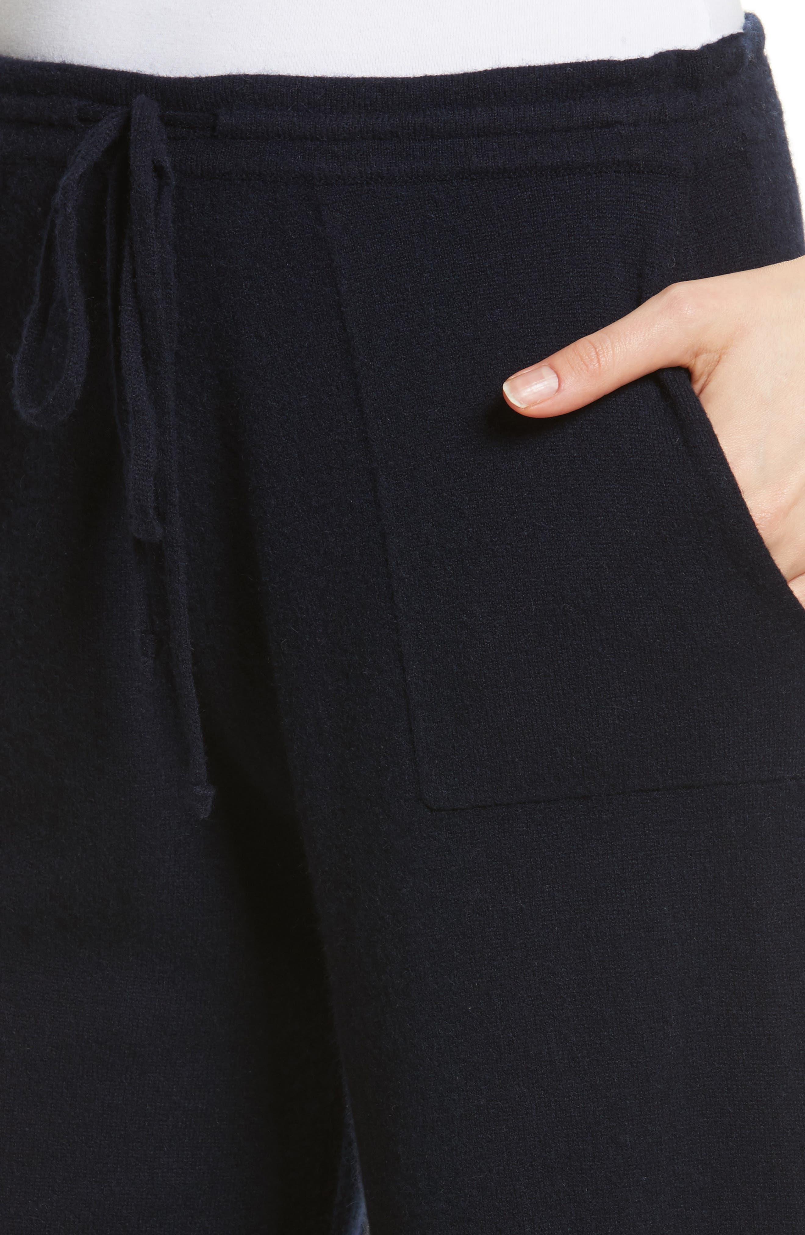 Wide Leg Wool & Cashmere Knit Crop Pants,                             Alternate thumbnail 4, color,                             403