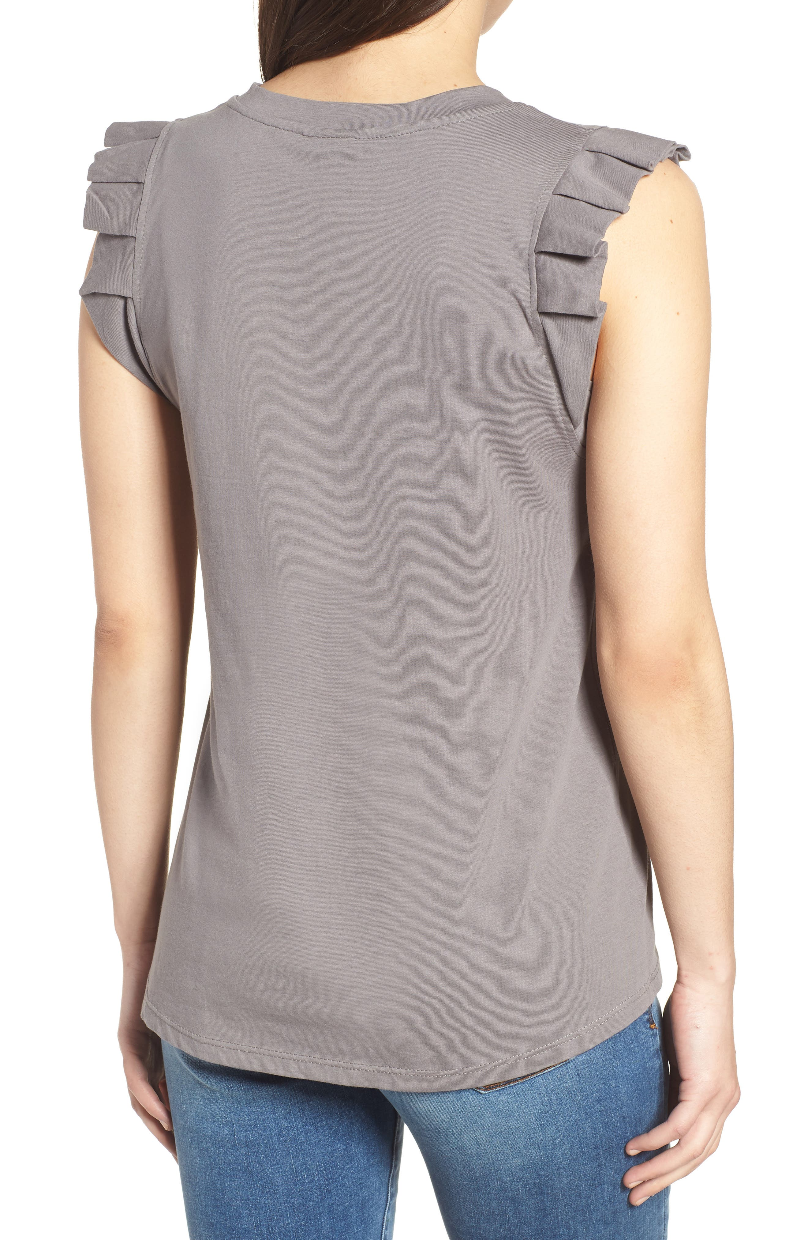 Pleat Ruffle Trim Tank,                             Alternate thumbnail 2, color,                             001