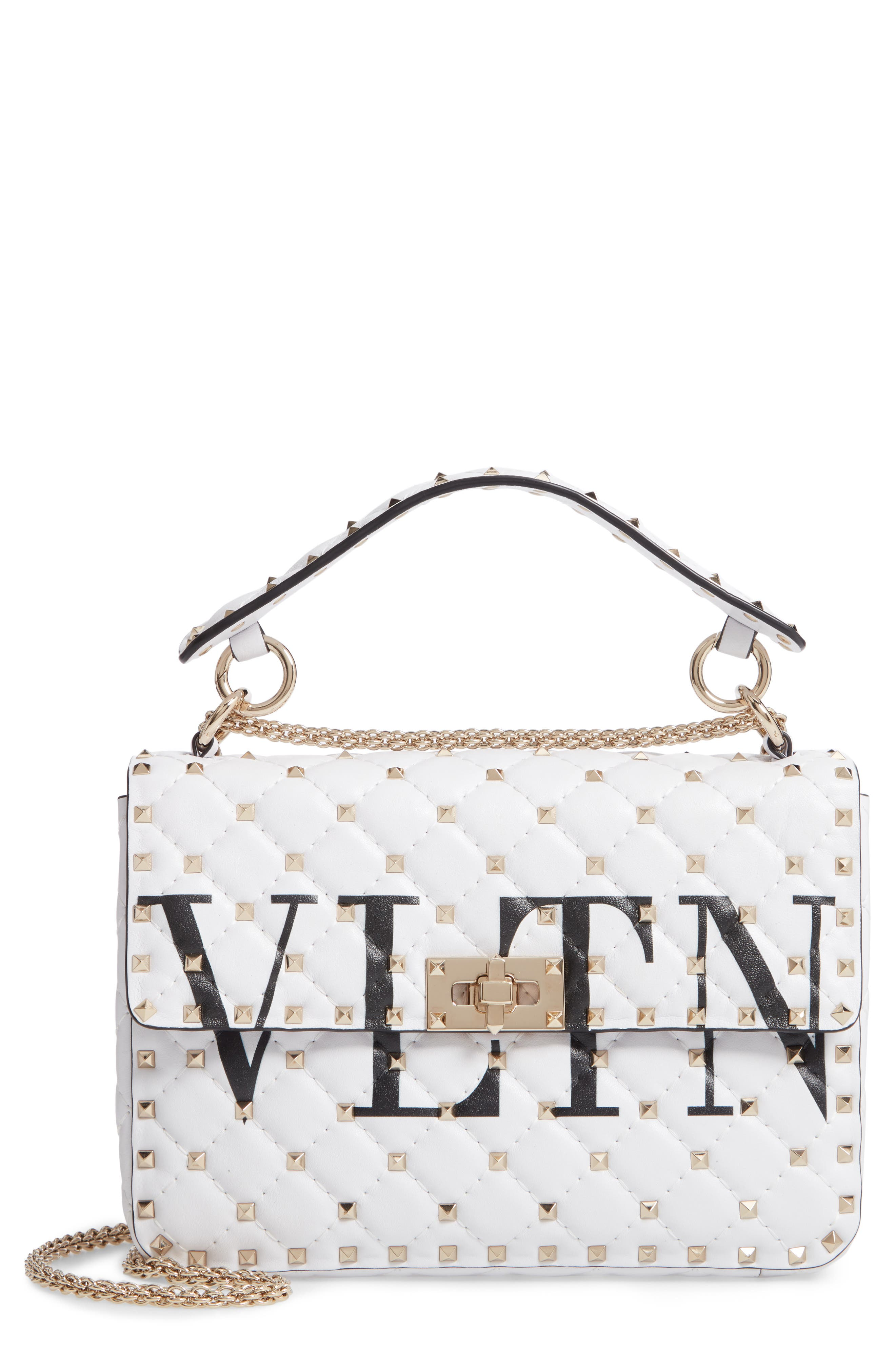 VLTN Logo Candystud Lambskin Top Handle Satchel, Main, color, WHITE