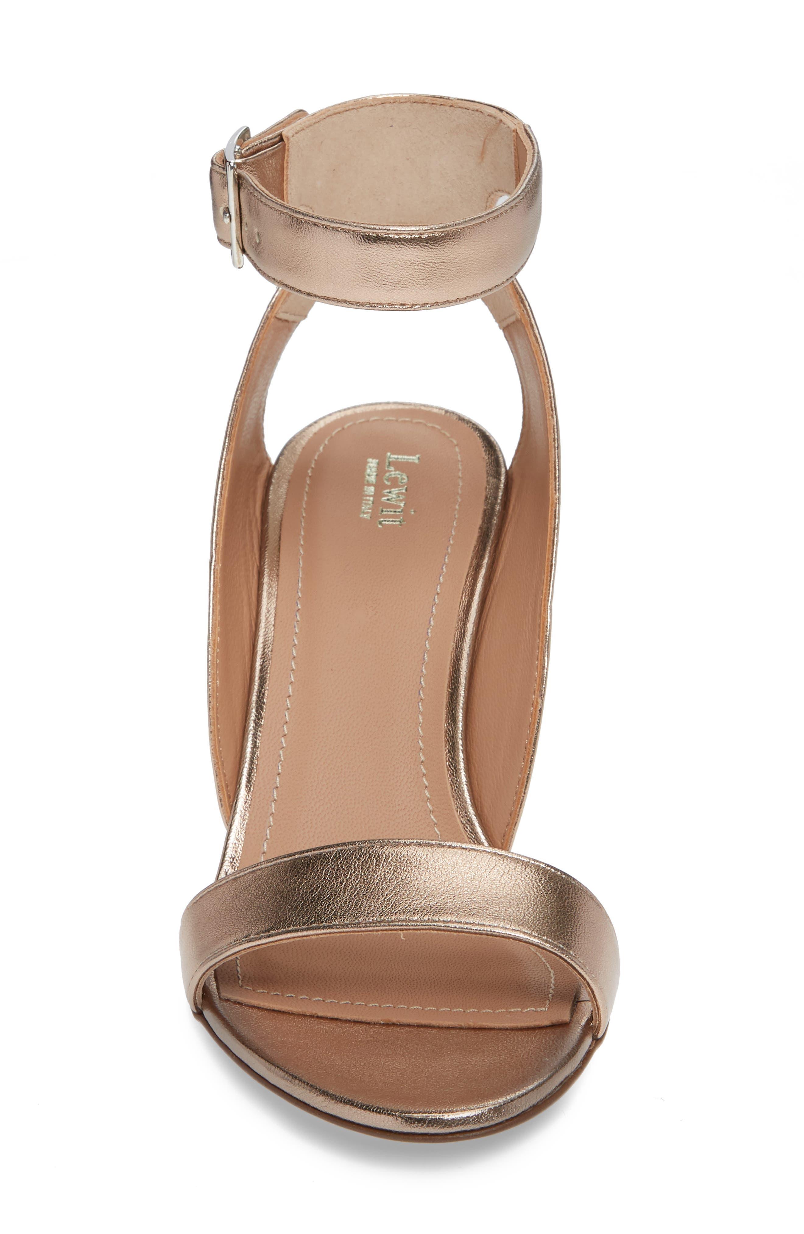 Guilia Block Heel Sandal,                             Alternate thumbnail 4, color,                             BRONZE LEATHER