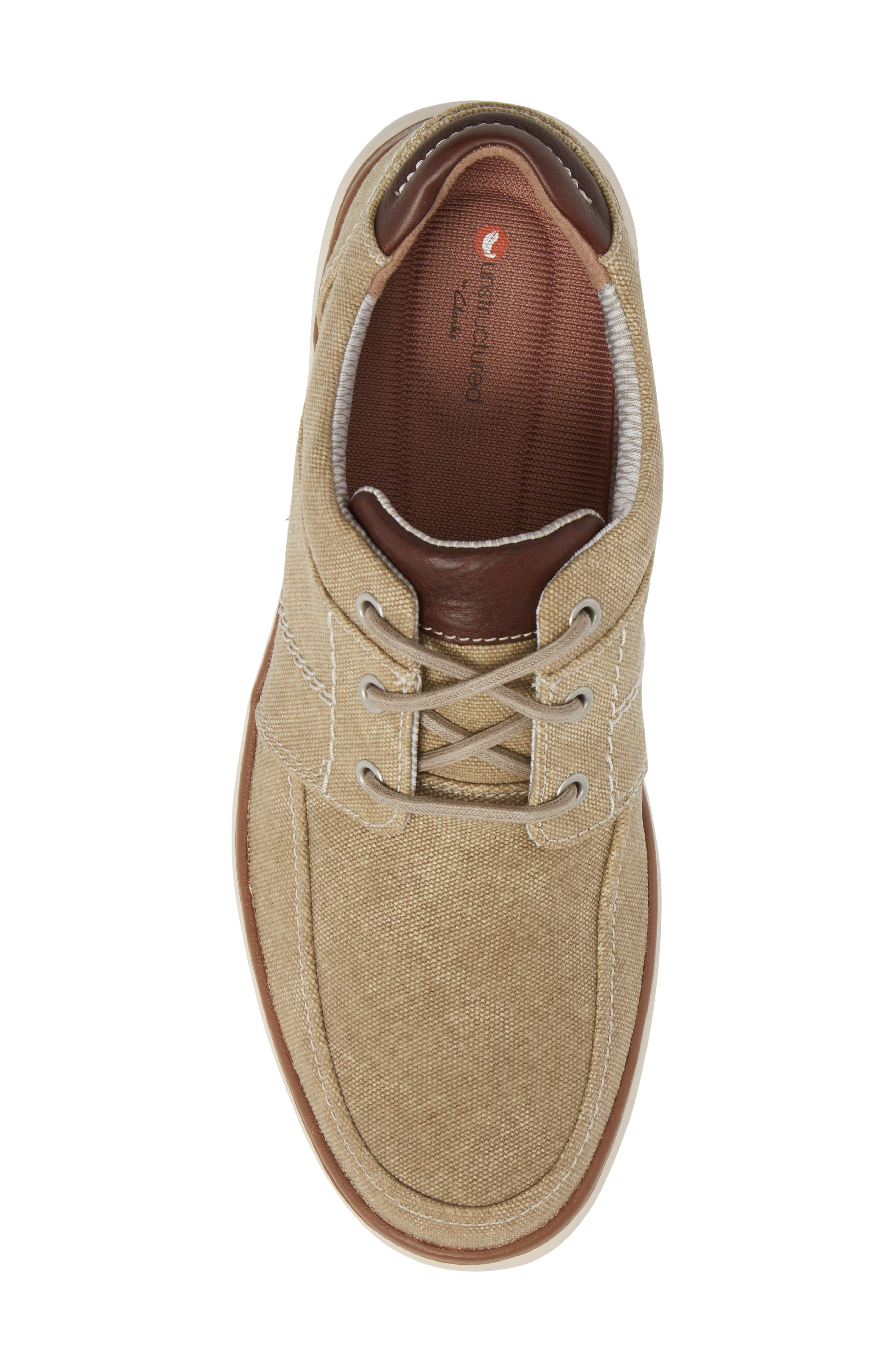 Clarks<sup>®</sup> Unabode Form Sneaker,                             Alternate thumbnail 5, color,                             SAND FABRIC