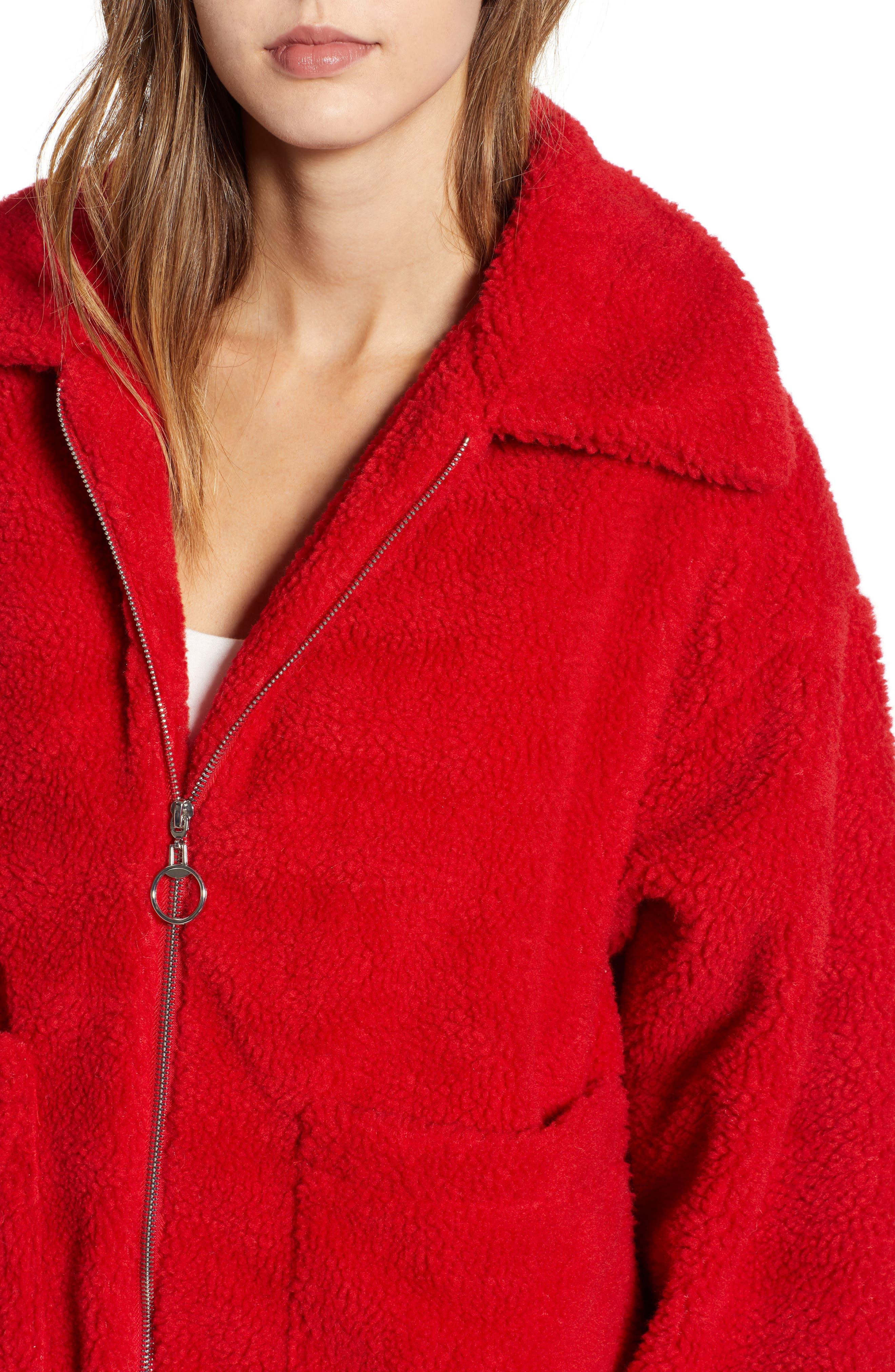 Oversized Fleece Jacket,                             Alternate thumbnail 4, color,                             RED