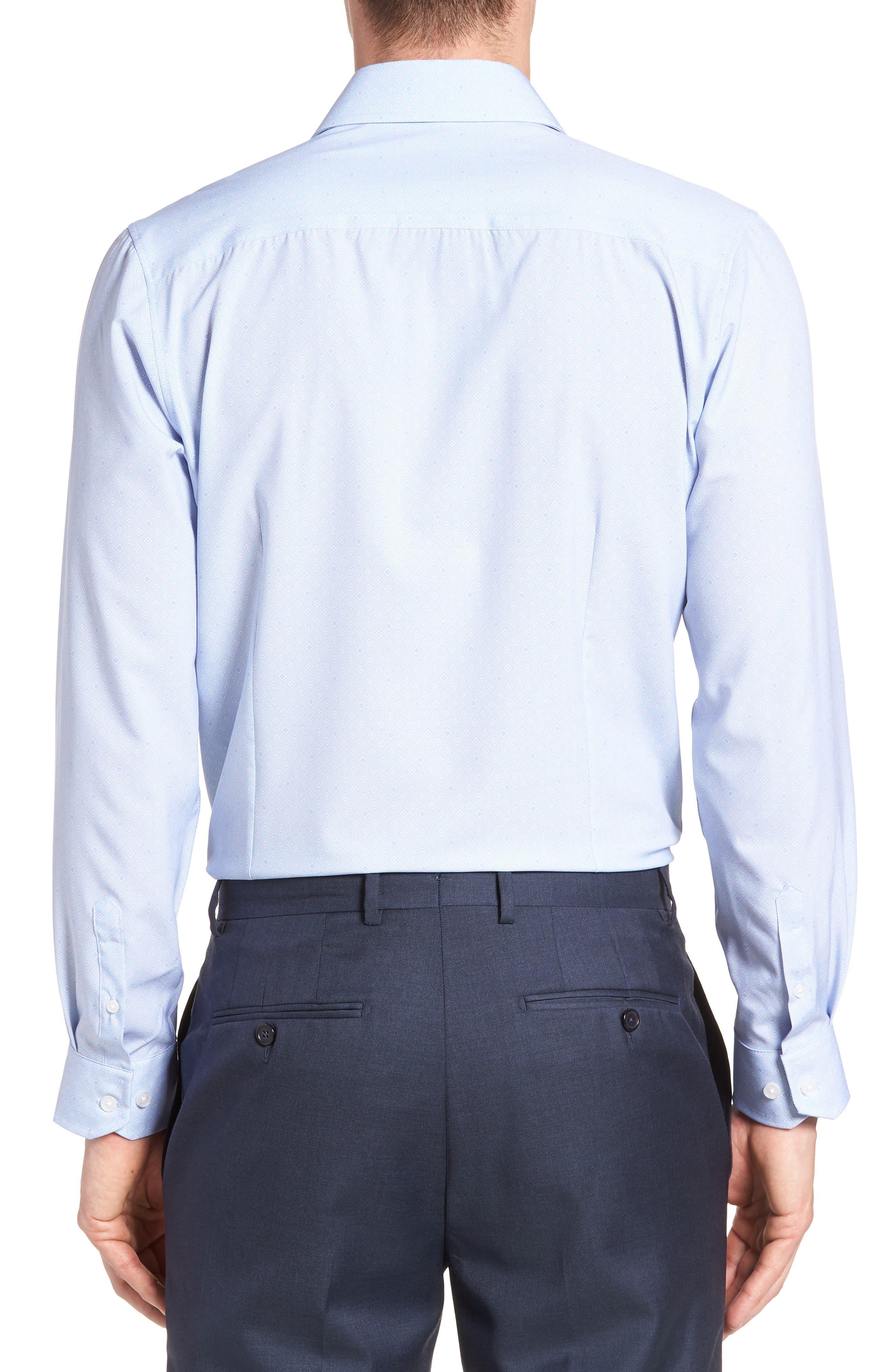 Trim Fit Geometric 4-Way Stretch Dress Shirt,                             Alternate thumbnail 3, color,                             BLUE