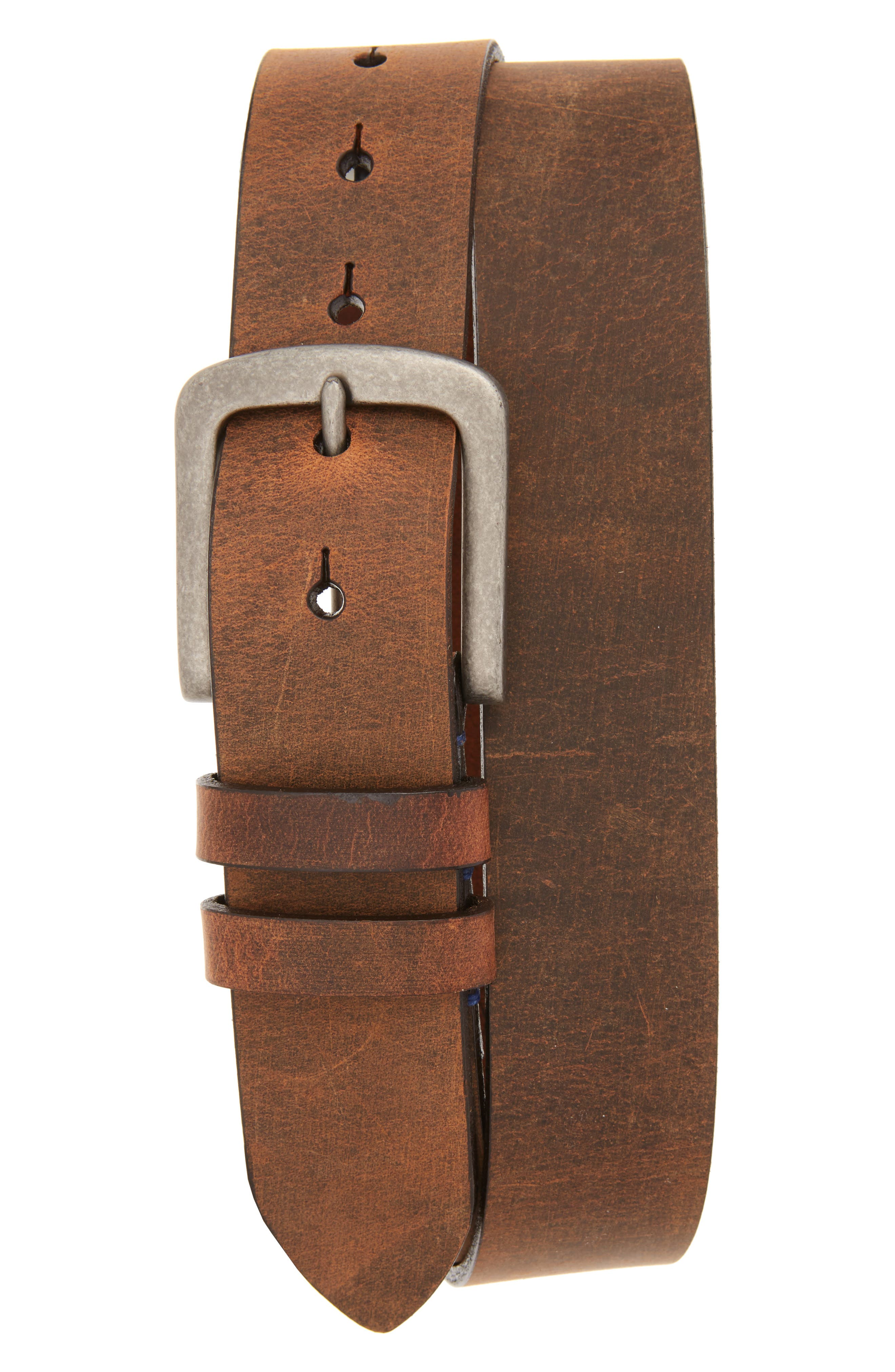 Distressed Waxed Harness Leather Belt,                             Main thumbnail 1, color,                             BROWN