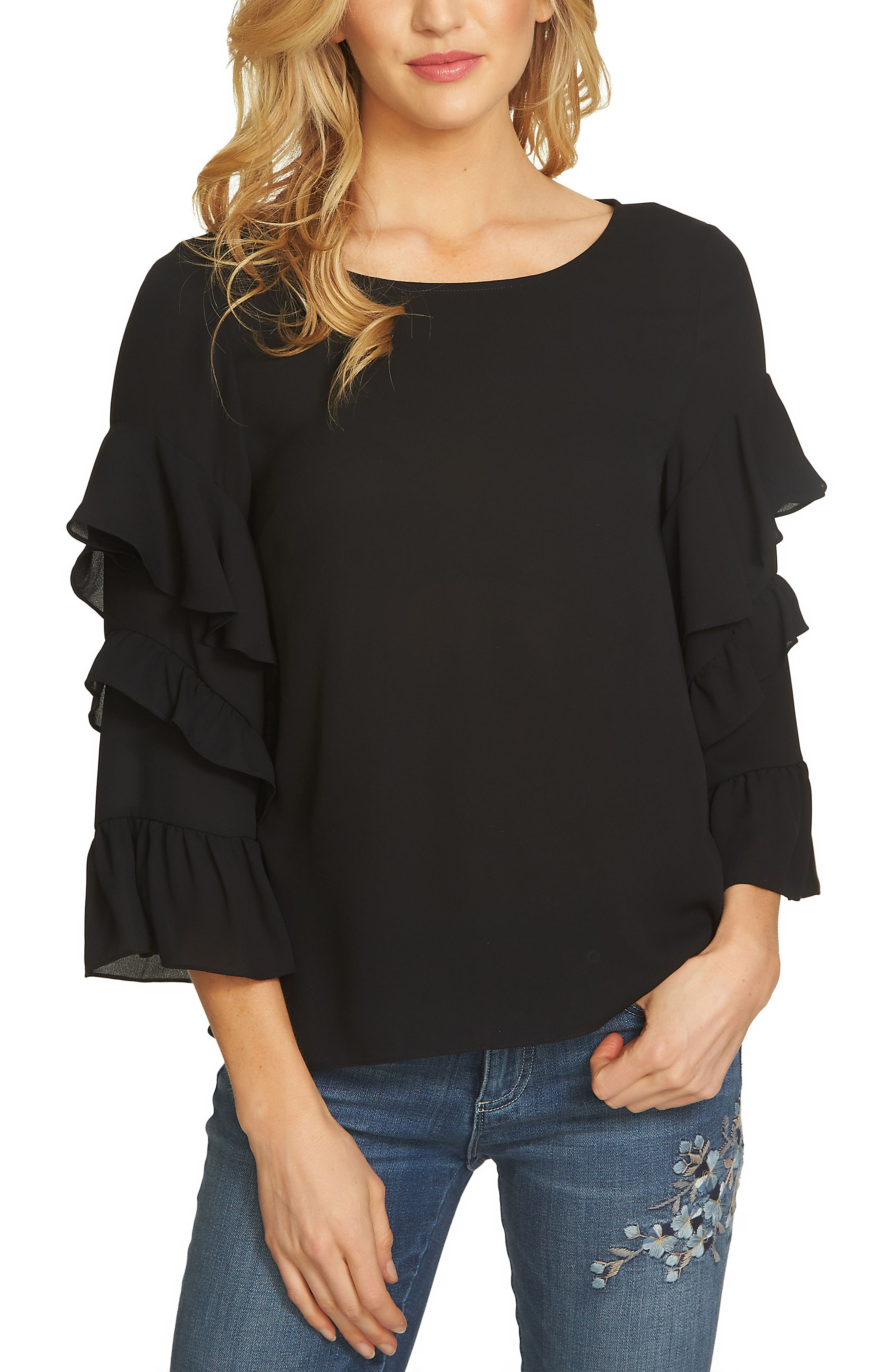 Tiered Ruffle Sleeve Blouse,                         Main,                         color, 010