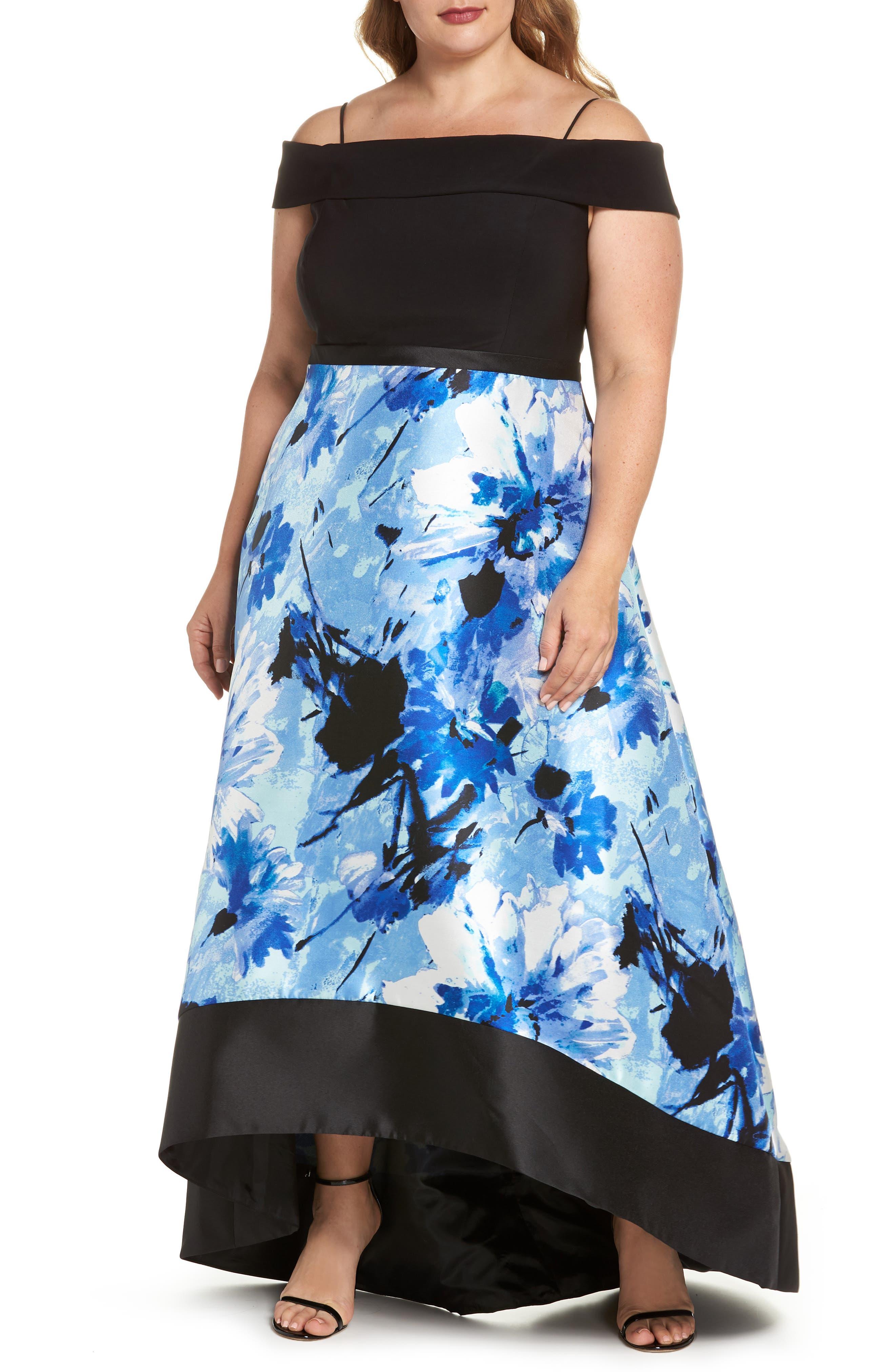 Cold Shoulder High/Low Gown,                             Main thumbnail 1, color,                             BLACK/ ROYAL