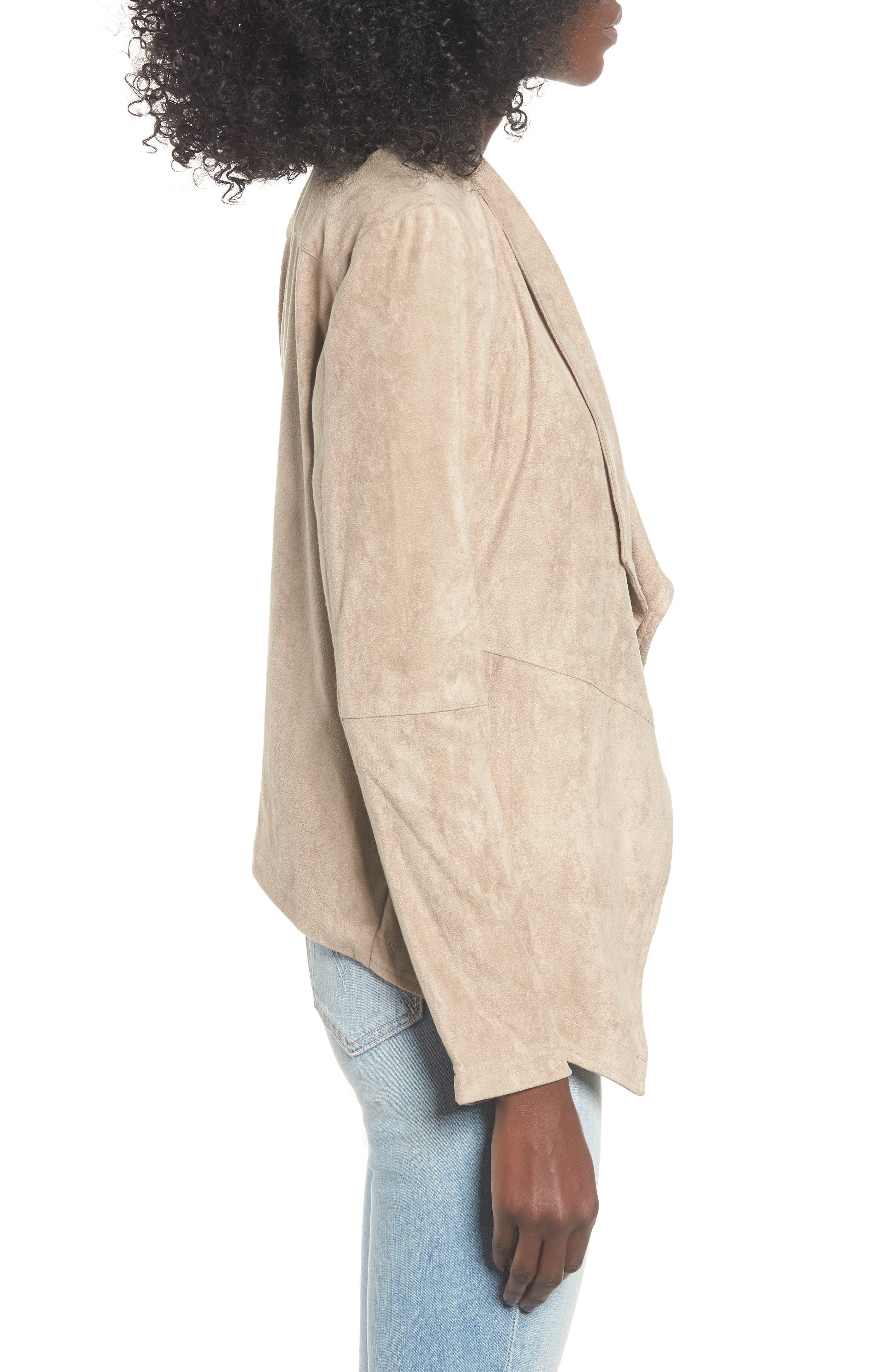 Nicholson Faux Suede Drape Front Jacket,                             Alternate thumbnail 3, color,                             WARM STONE