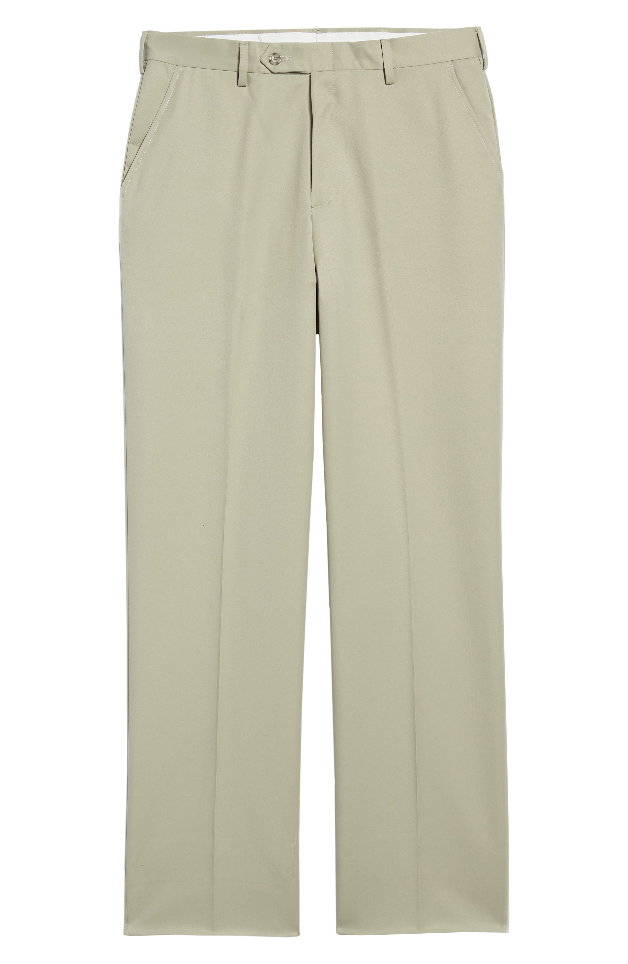 Classic Fit Flat Front Microfiber Performance Trousers,                             Alternate thumbnail 6, color,                             TAUPE