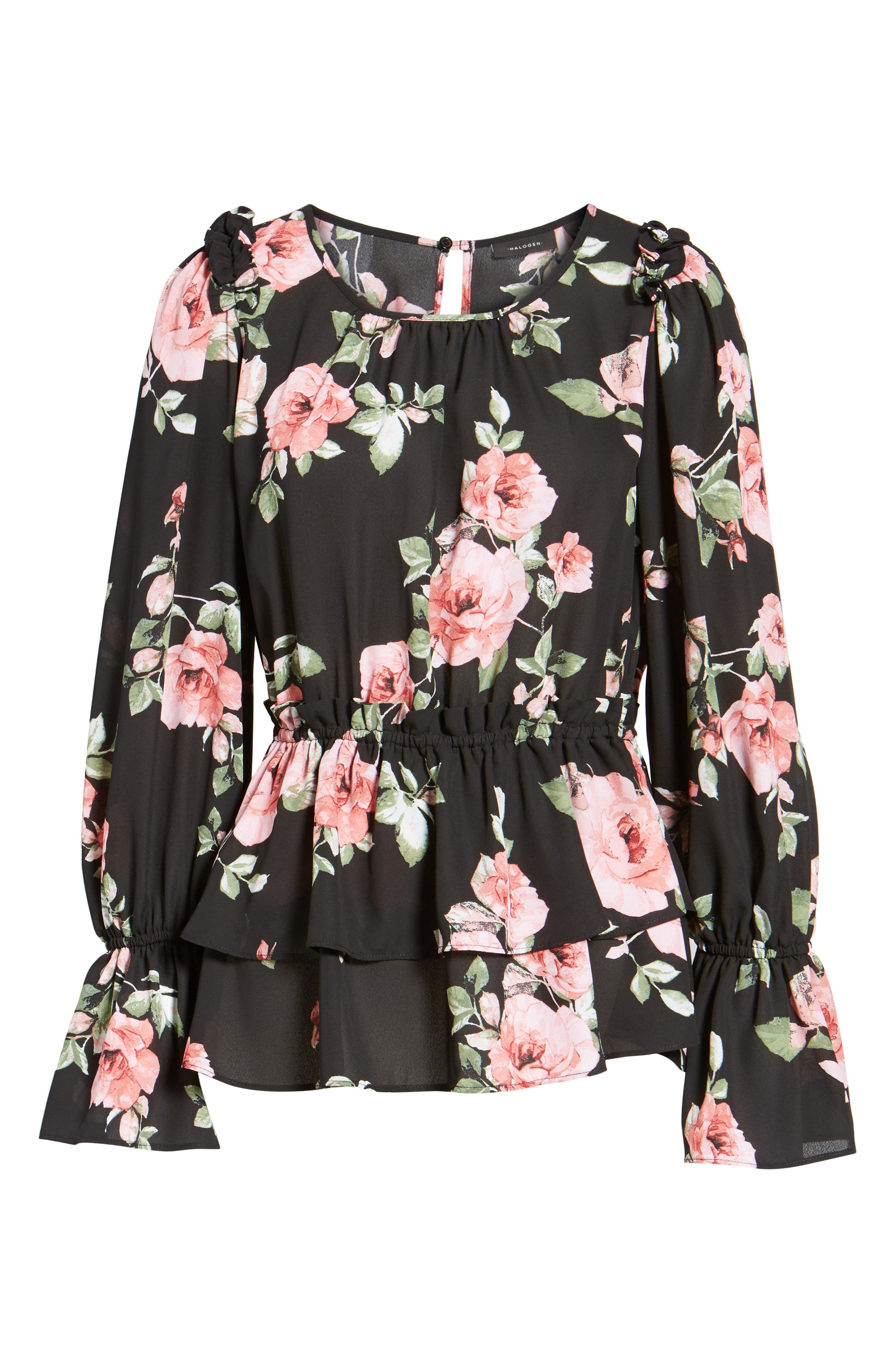 Floral Ruffle Blouse,                             Alternate thumbnail 6, color,                             001
