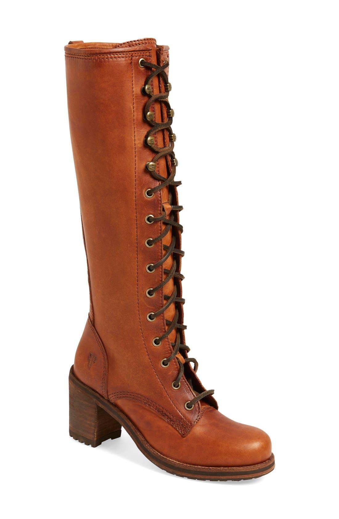 'Karen' Lace Up Tall Boot, Main, color, 235