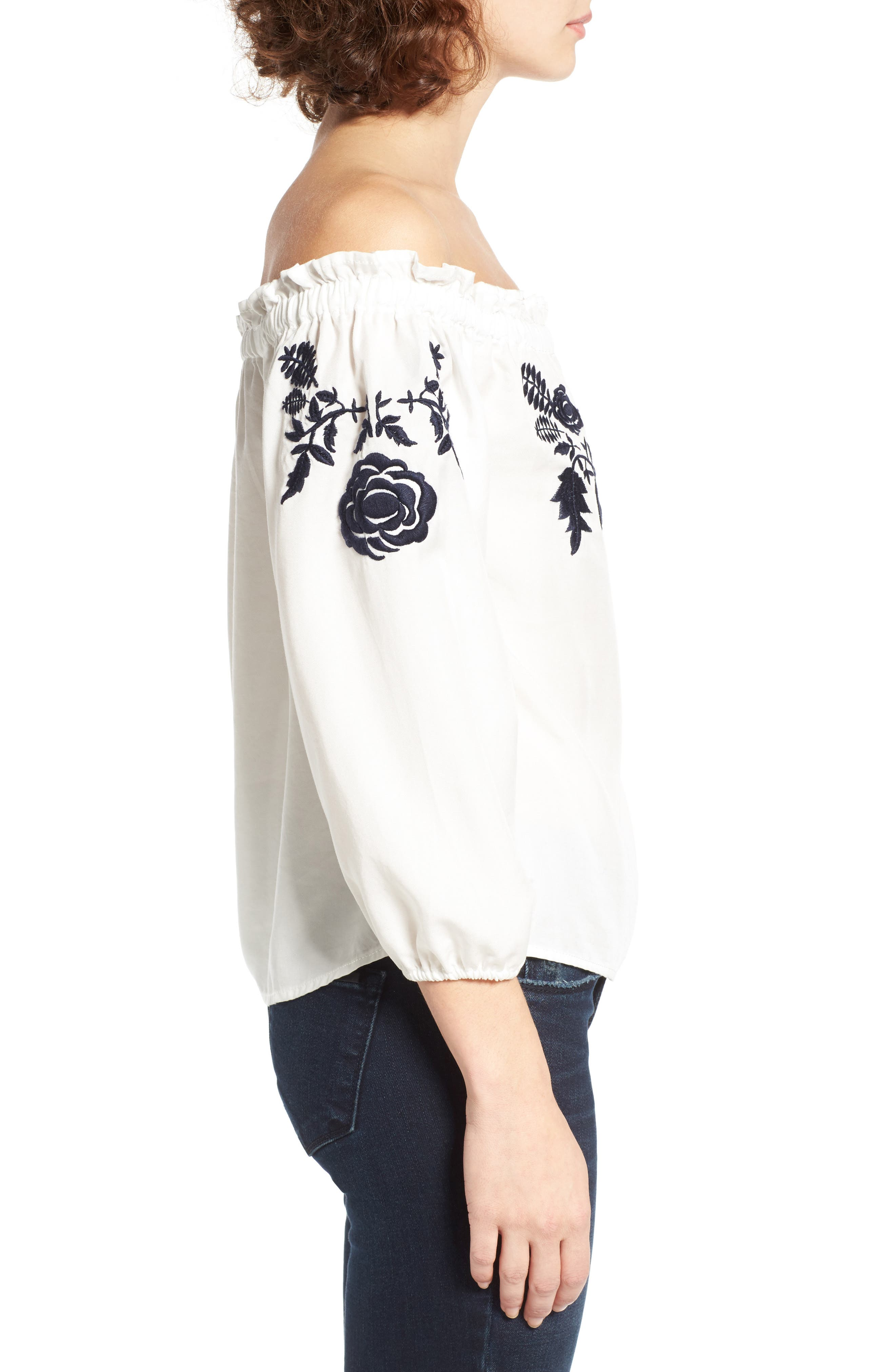 Embroidered Off the Shoulder Top,                             Alternate thumbnail 4, color,                             100