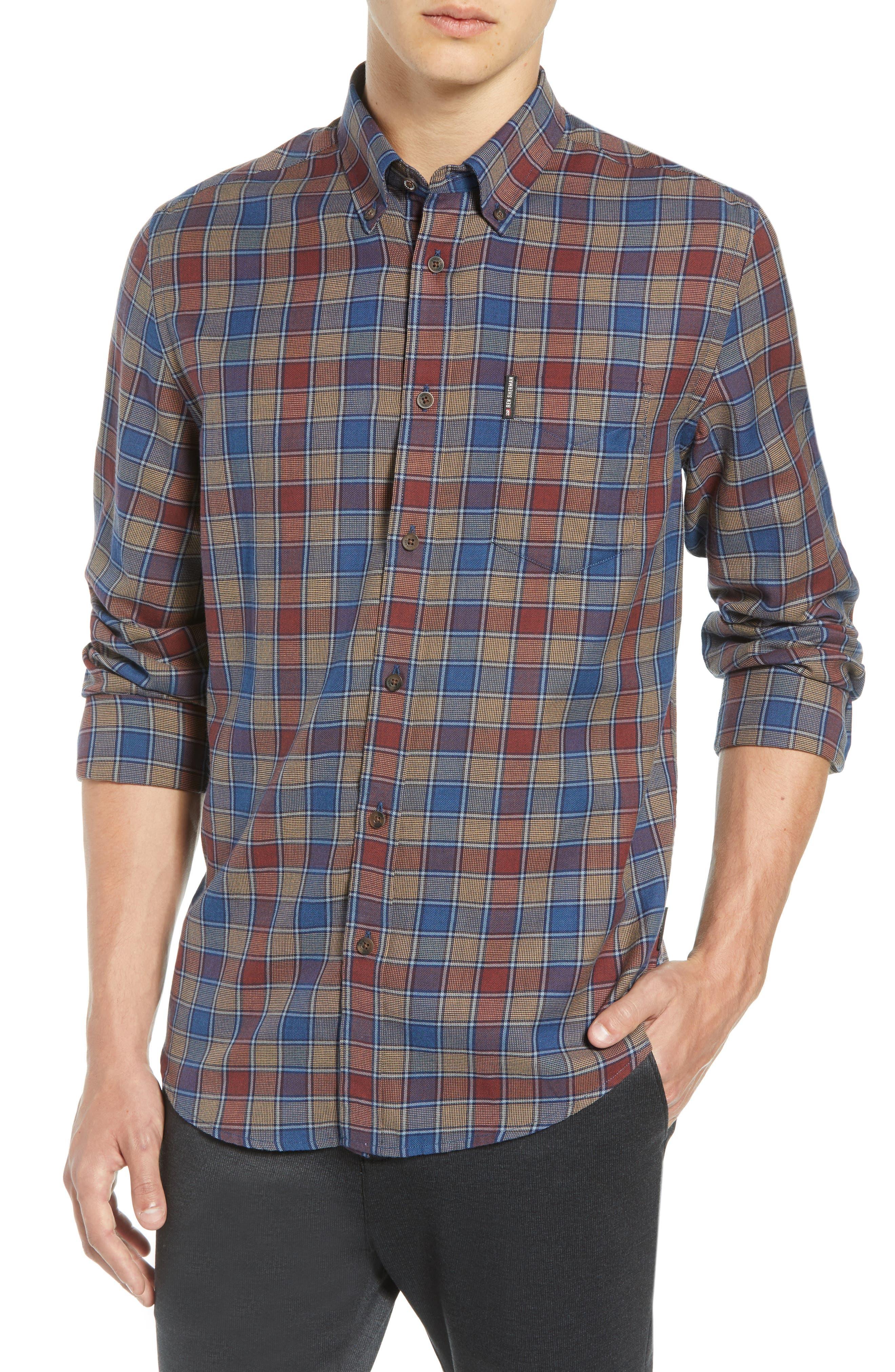 Heritage Check Slim Fit Sport Shirt,                         Main,                         color, BURNT ORANGE