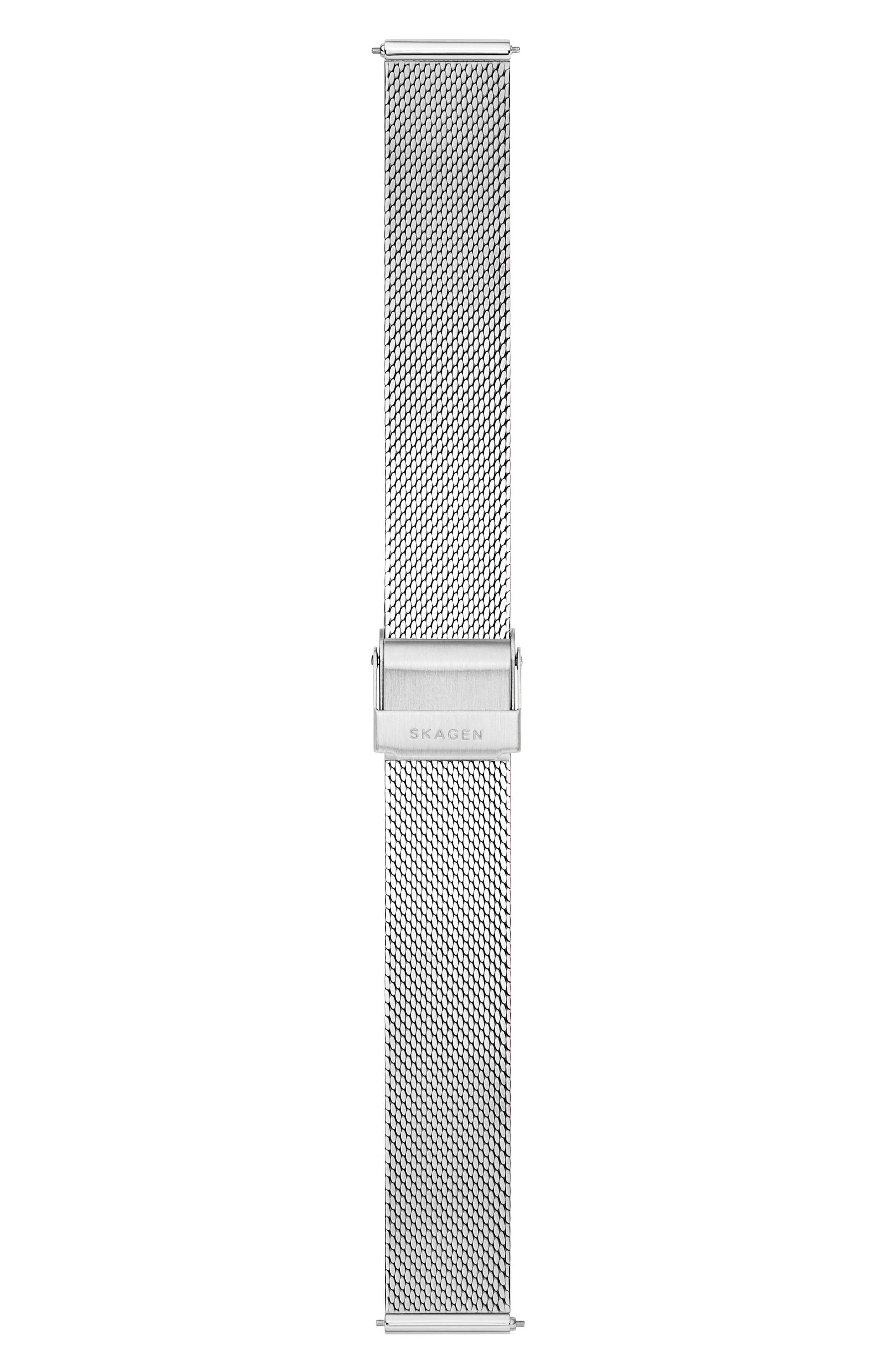 Mesh Watch Strap, 16mm,                             Alternate thumbnail 2, color,                             SILVER