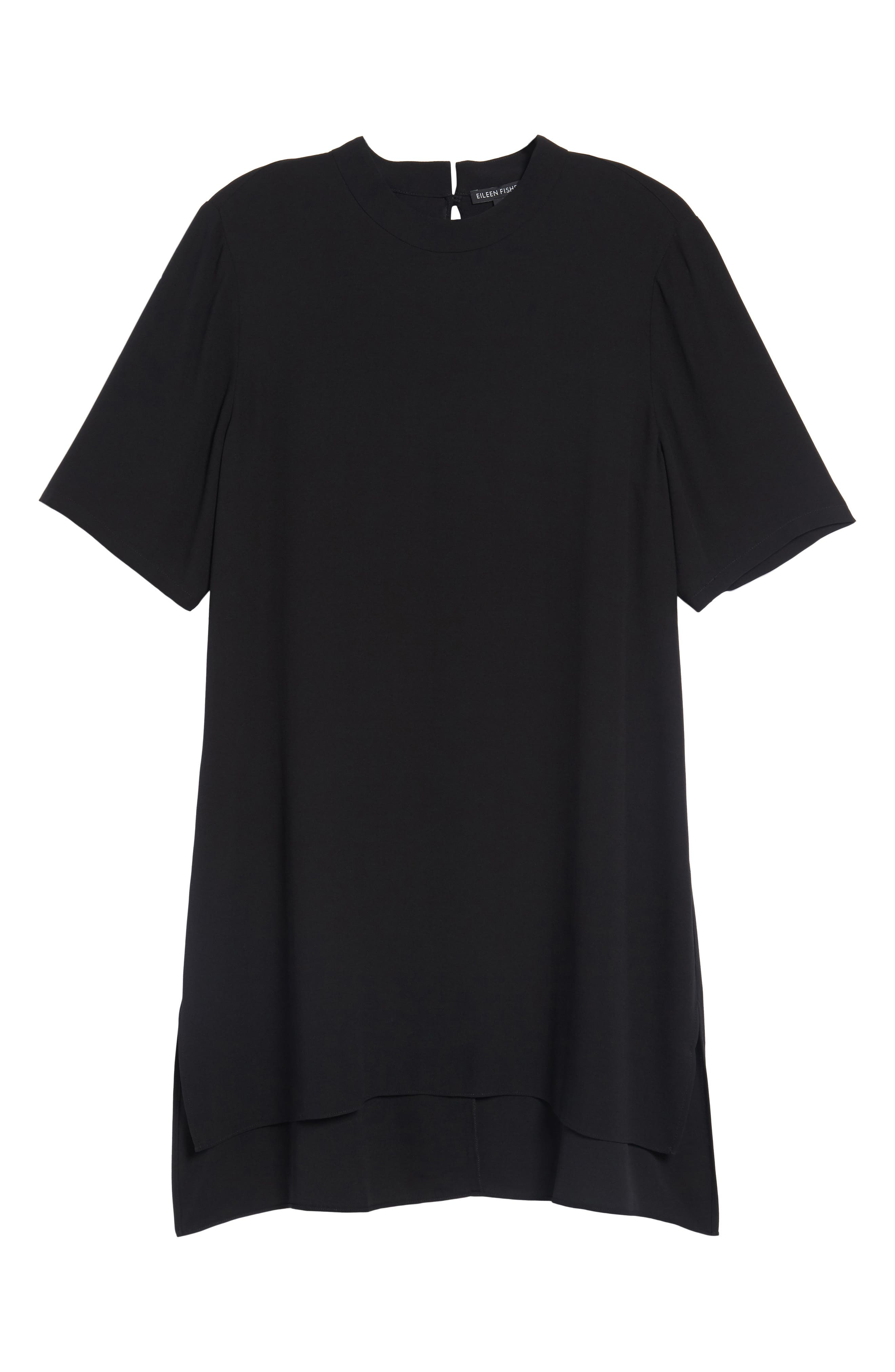 High Neck Silk Tunic,                             Alternate thumbnail 6, color,                             001