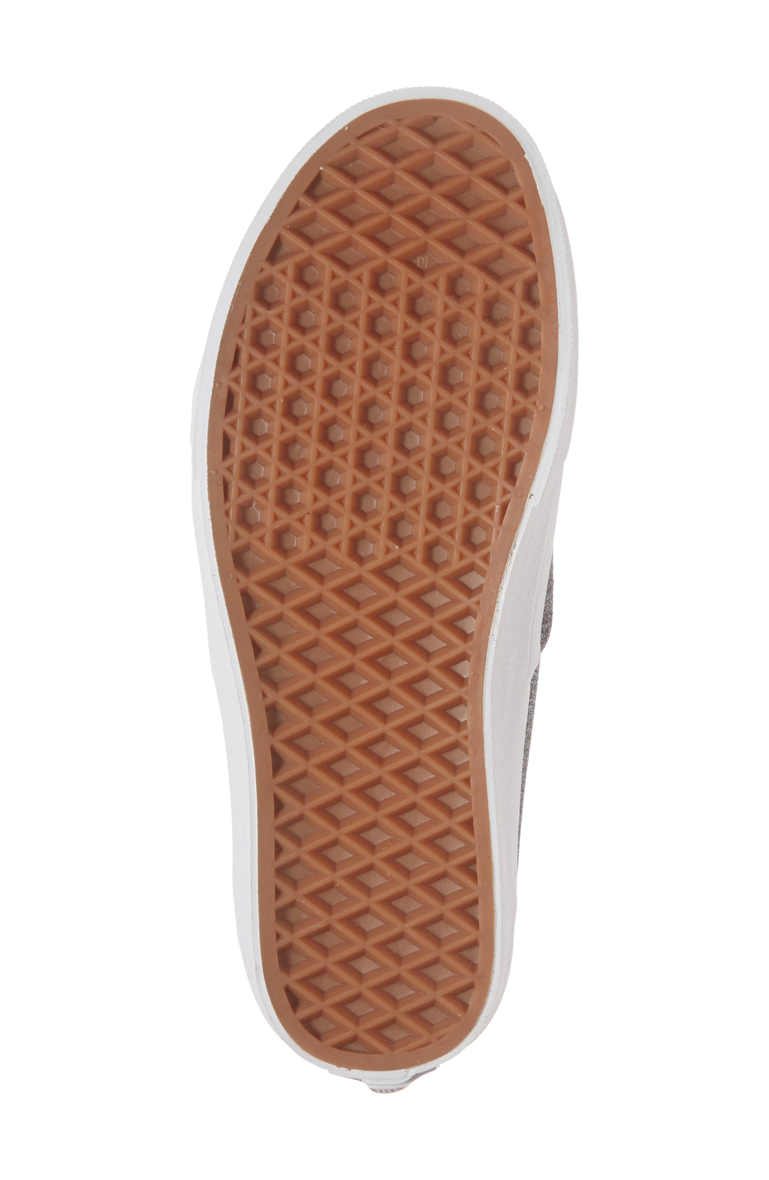 UA Authentic Lurex Sneaker,                             Alternate thumbnail 6, color,                             BLACK/ TRUE WHITE GLITTER