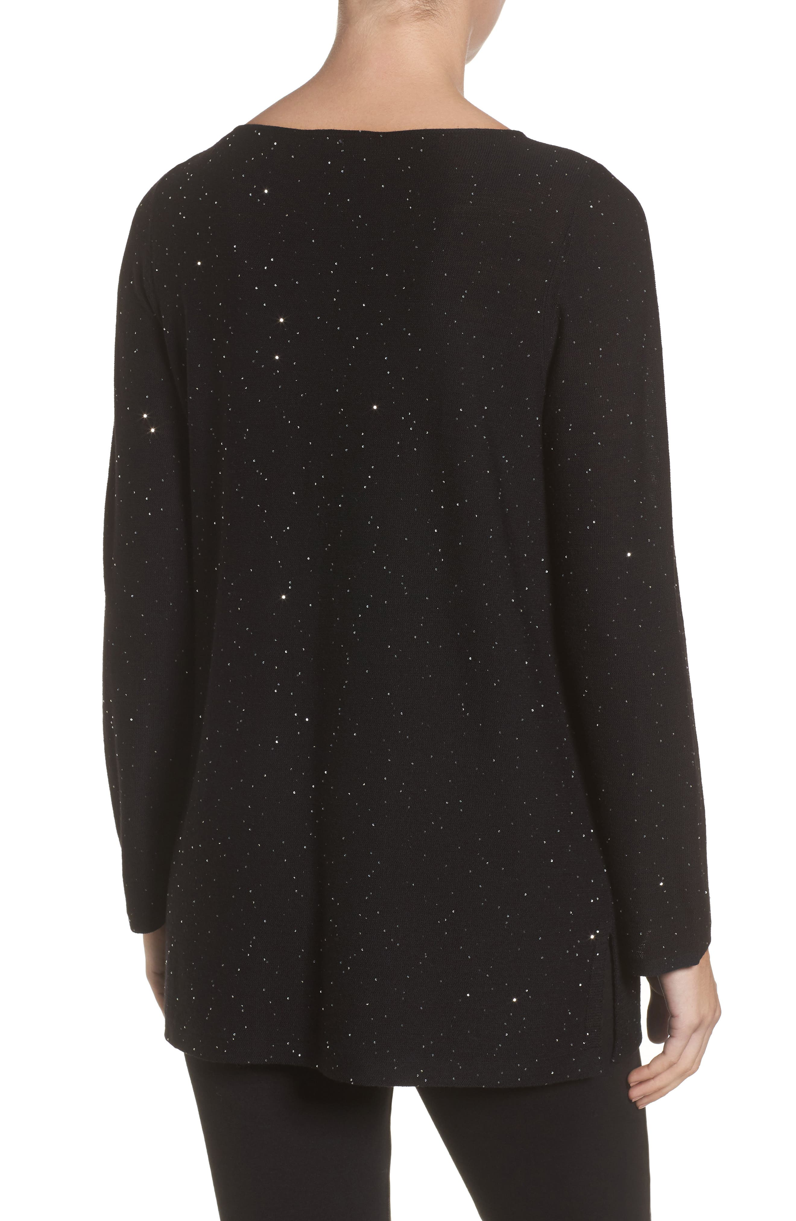 Sequin Merino Wool Sweater,                             Alternate thumbnail 2, color,                             001