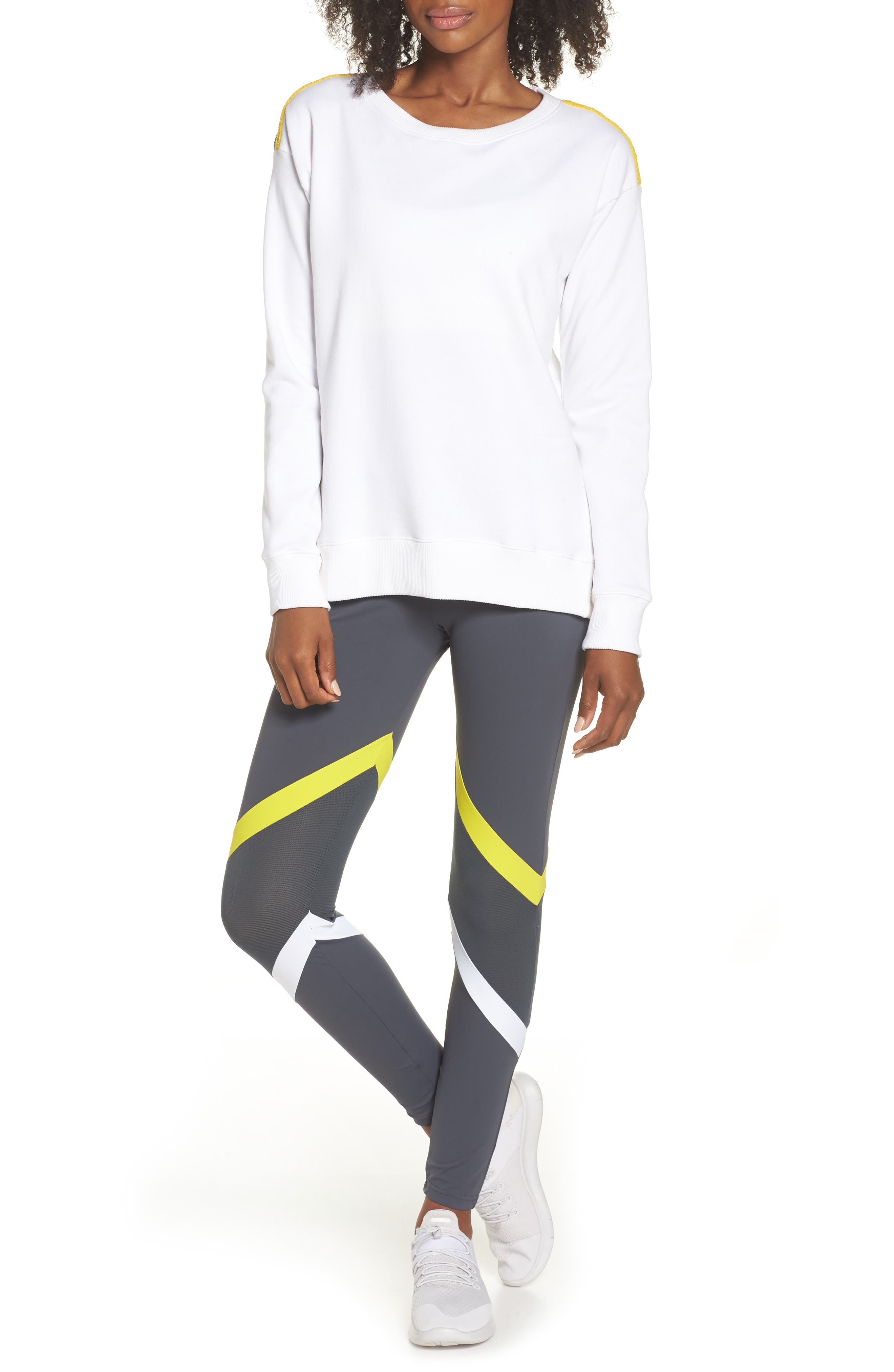 BoomBoom Athletica Tricolor Shoulder Sweatshirt,                             Alternate thumbnail 8, color,                             WHITE/ GREY/ YELLOW