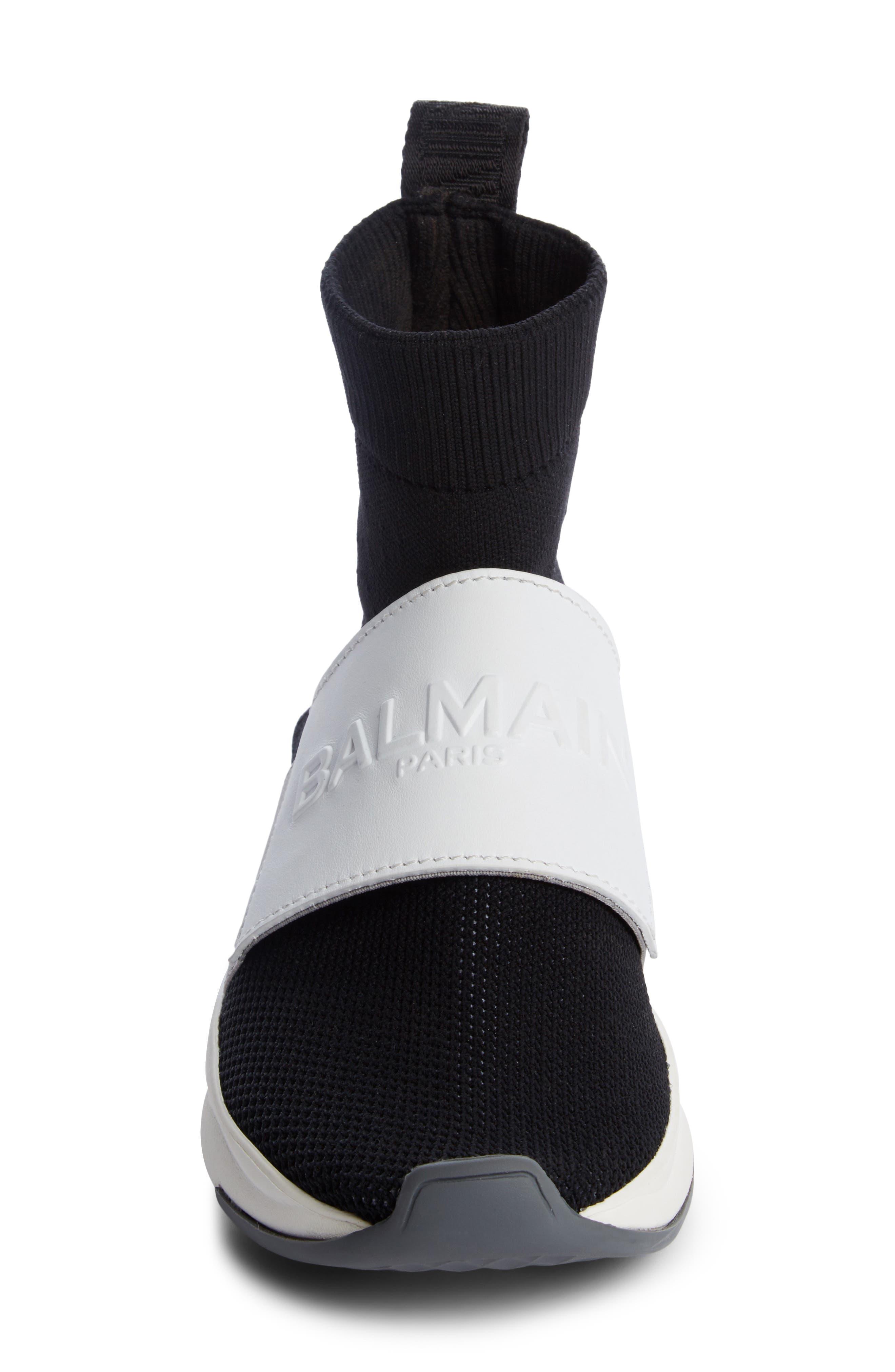 Cameron Logo Strap Sock Sneaker,                             Alternate thumbnail 4, color,                             001