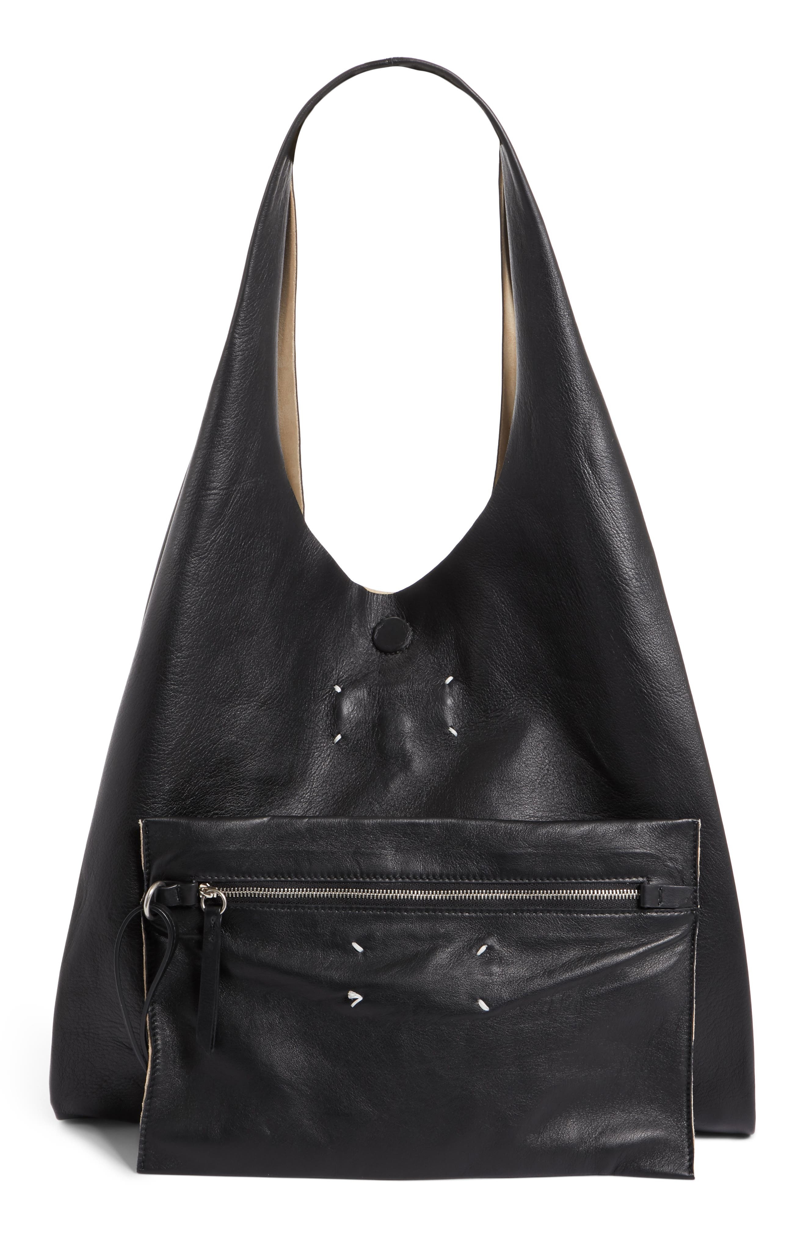 Calfskin Leather Shopper,                             Alternate thumbnail 3, color,                             001
