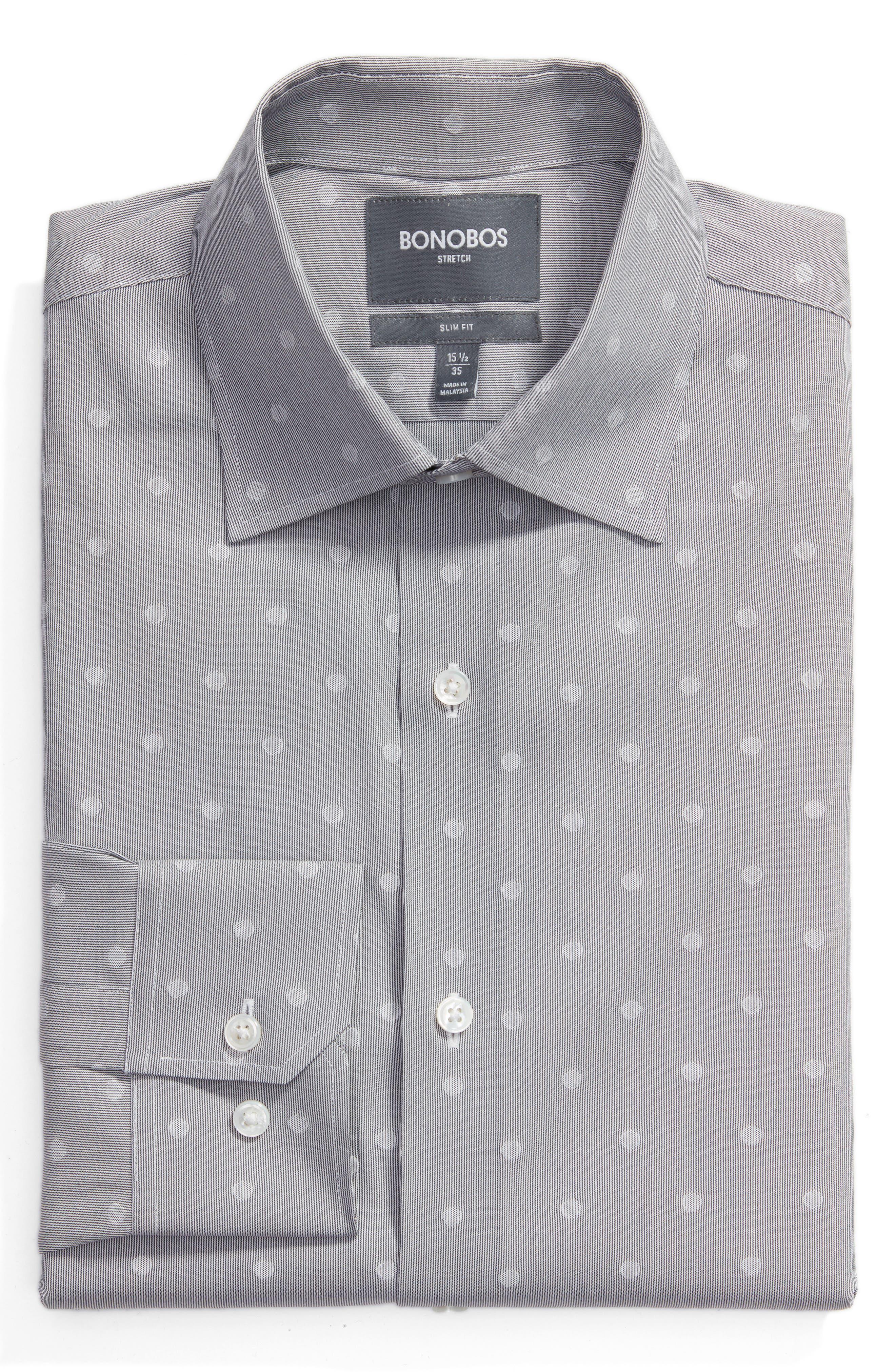 Slim Fit Dot Dress Shirt,                             Main thumbnail 1, color,                             020