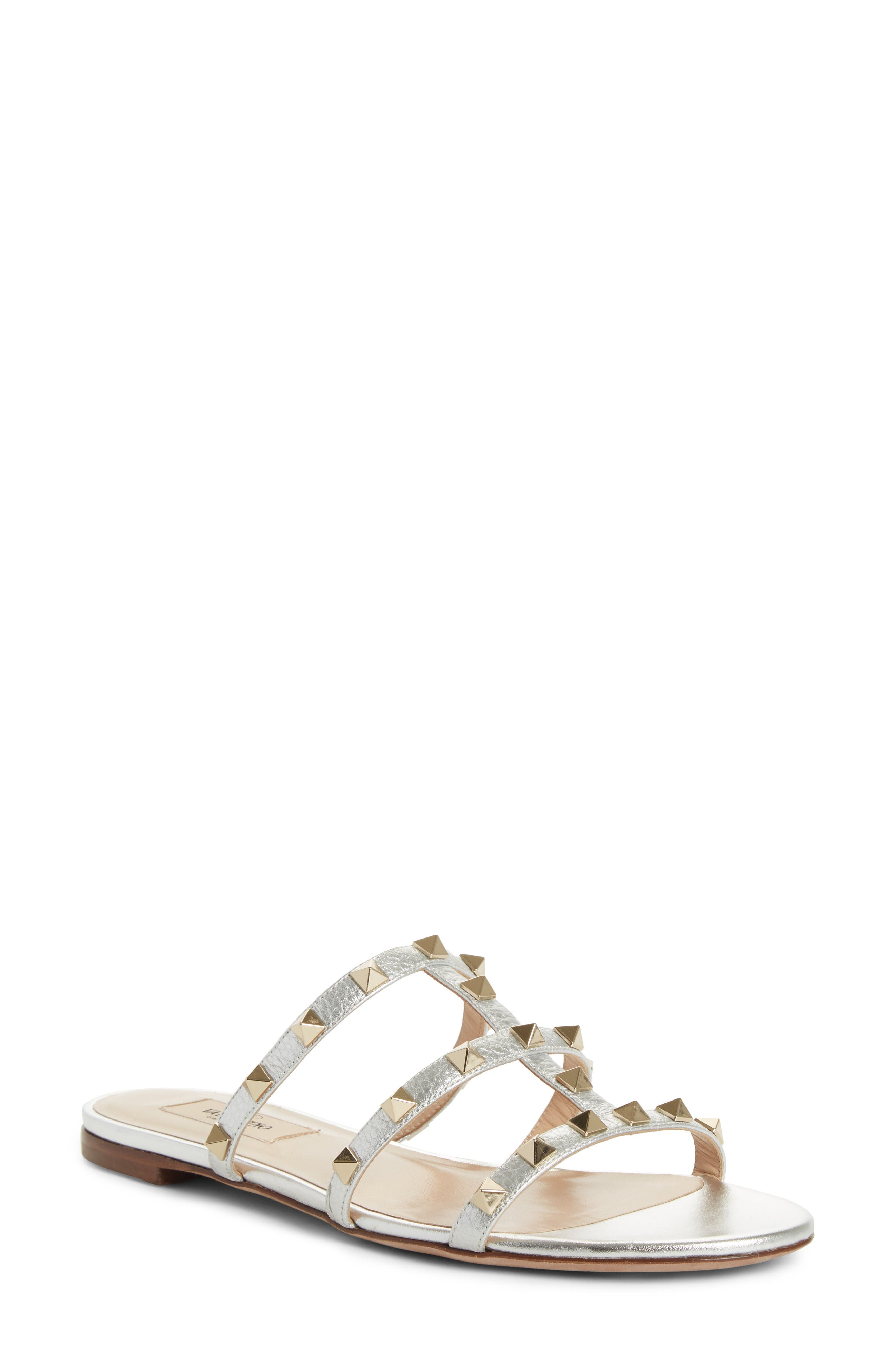 Rockstud Cage Slide Sandal,                             Main thumbnail 1, color,                             METALLIC SILVER