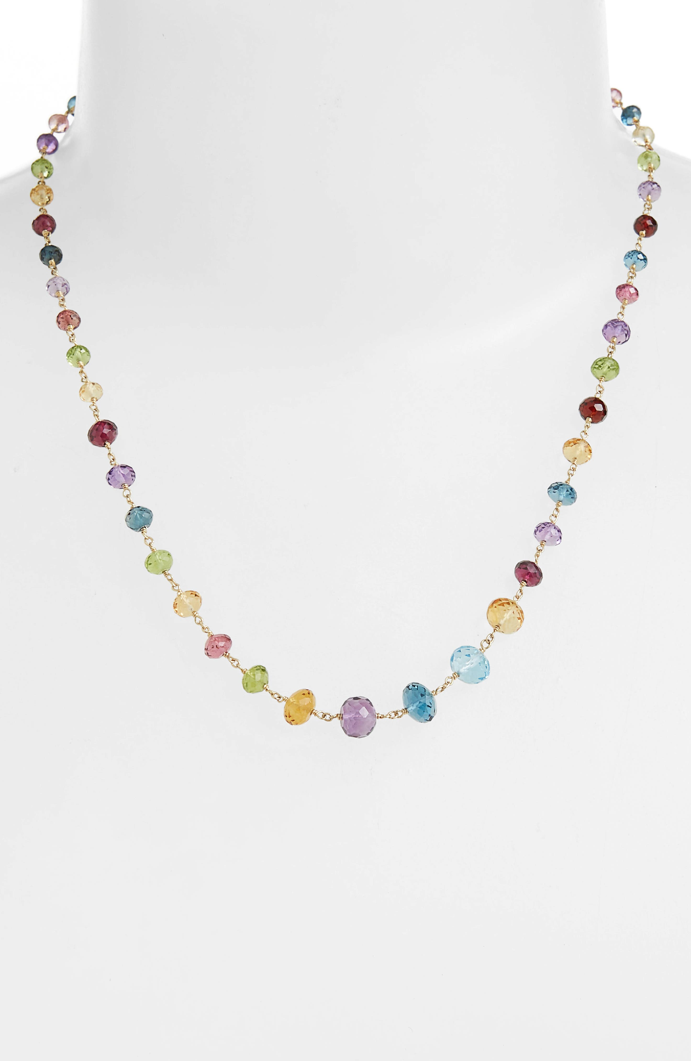 Africa Semiprecious Stone Long Strand Necklace,                             Alternate thumbnail 3, color,                             YELLOW GOLD