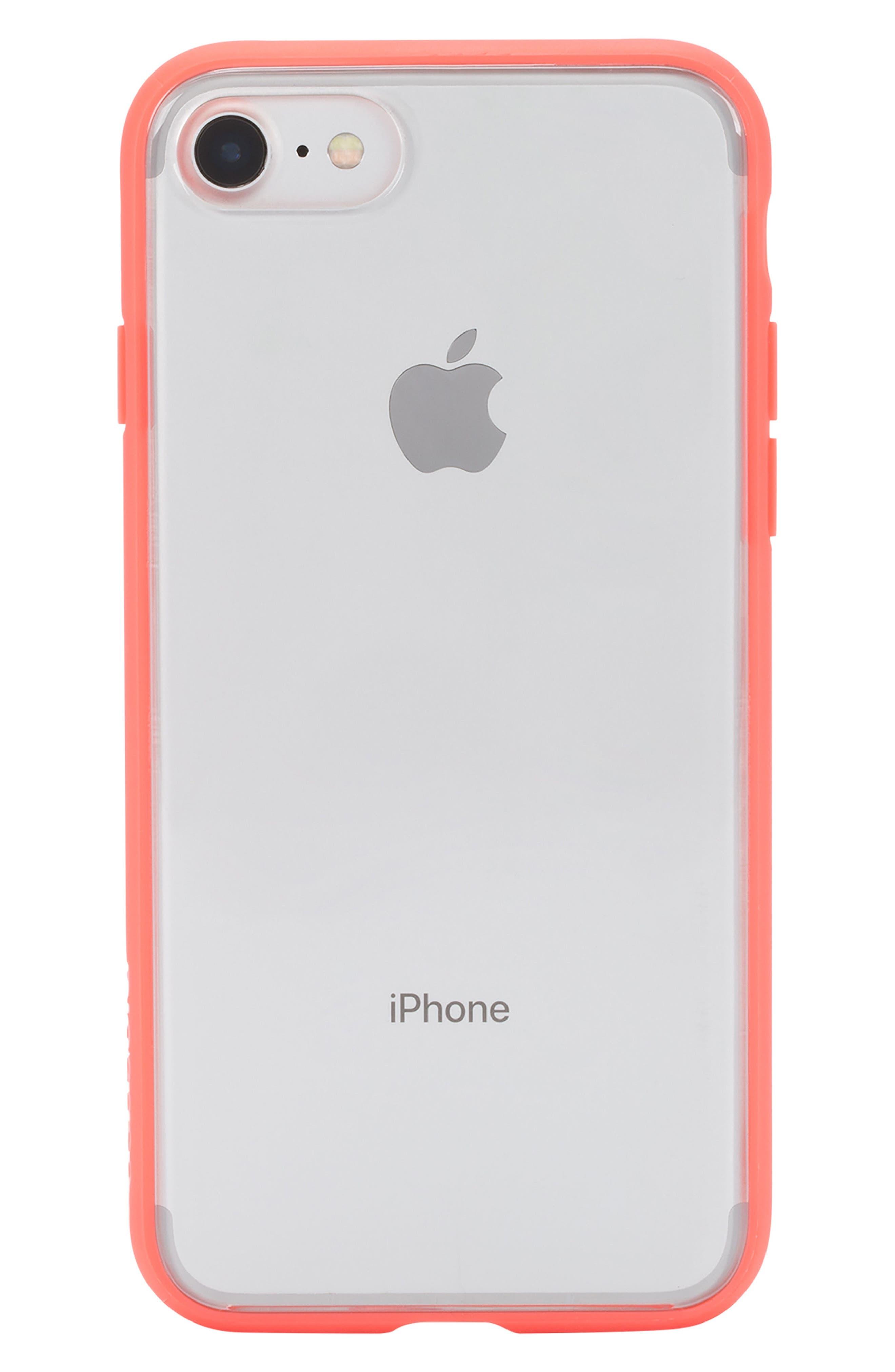 Pop Case Clear iPhone 7/8 Case,                             Main thumbnail 1, color,                             CORAL