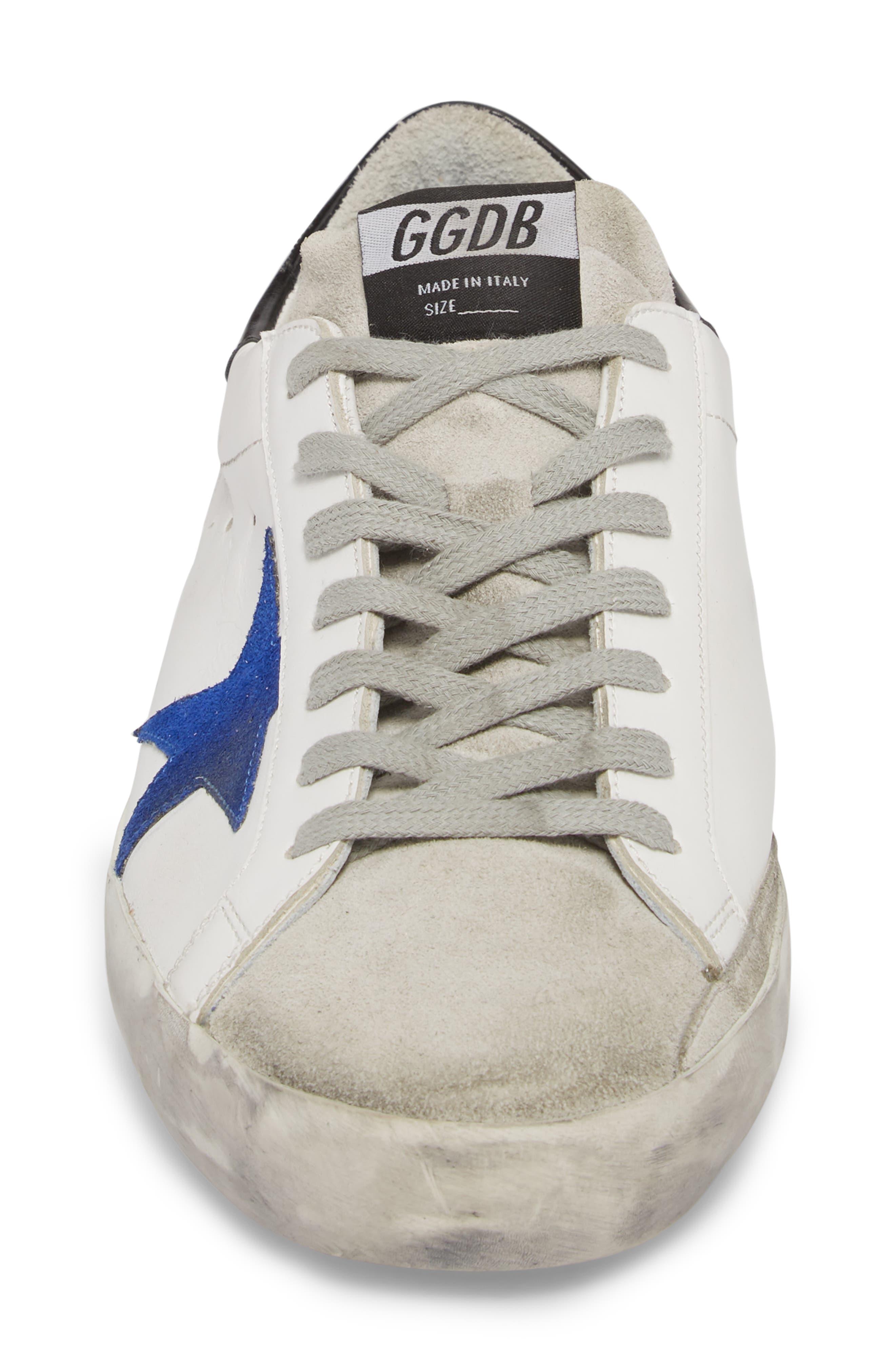 'Superstar' Sneaker,                             Alternate thumbnail 4, color,                             WHITE-BLUE-BLACK