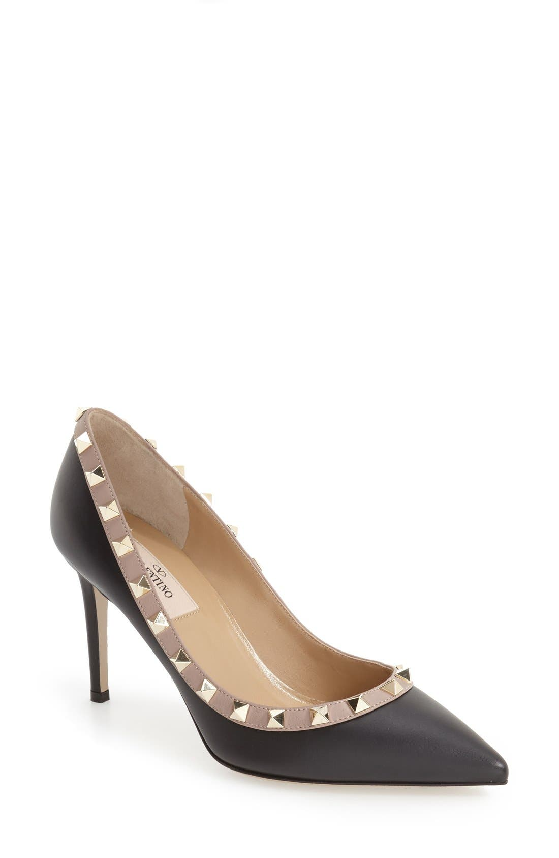 Rockstud Pointy Toe Pump,                             Main thumbnail 1, color,                             BLACK LEATHER