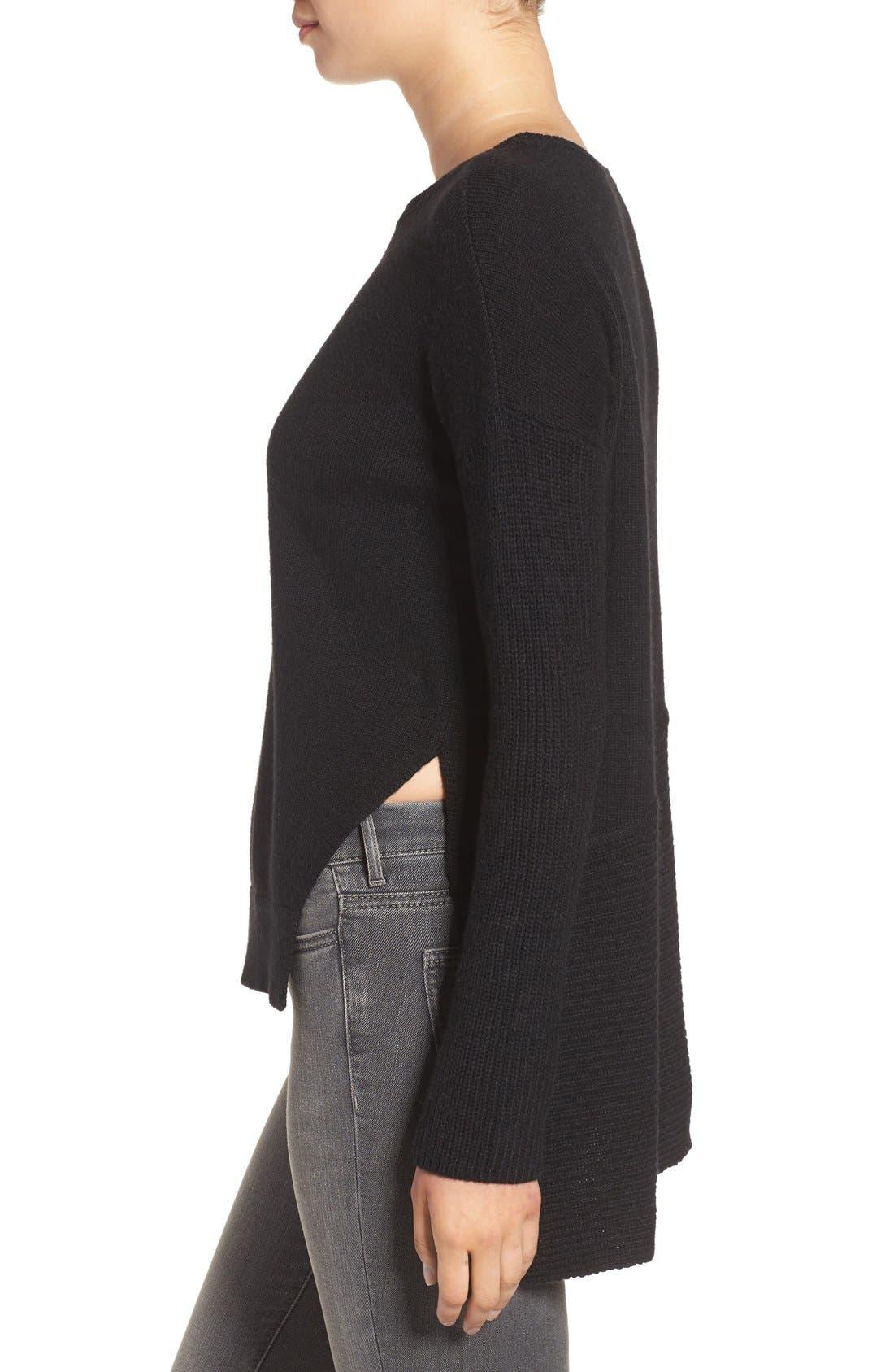 Asymmetrical Hem Sweater,                             Alternate thumbnail 3, color,                             001